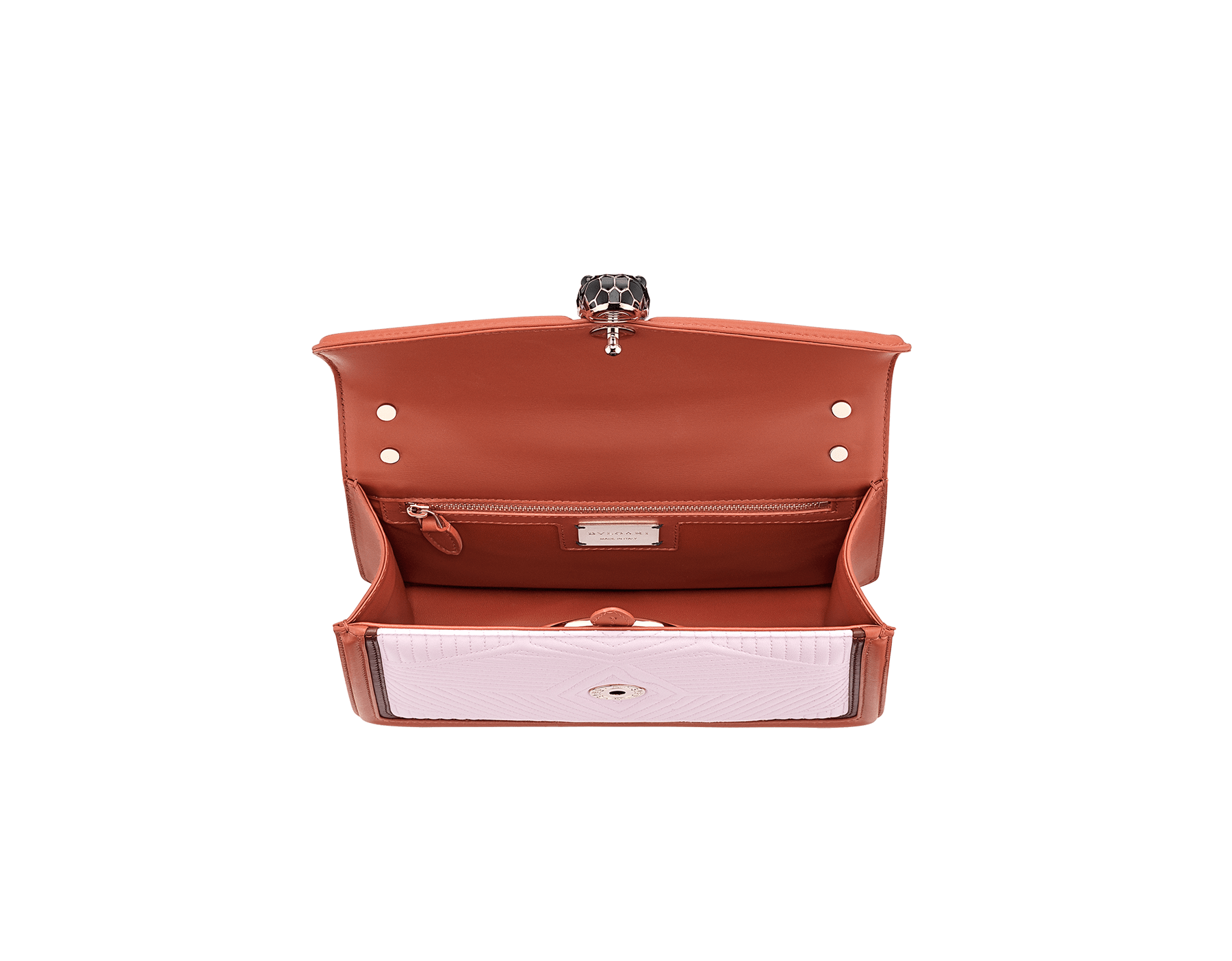 Serpenti Diamond Blast shoulder bag with rosa di francia quilted nappa leather body and imperial topaz and Roman garnet calf leather frames. Iconic snakehead closure in light gold plated brass embellished with Roman garnet and black enamel and black onyx eyes. 288829 image 4