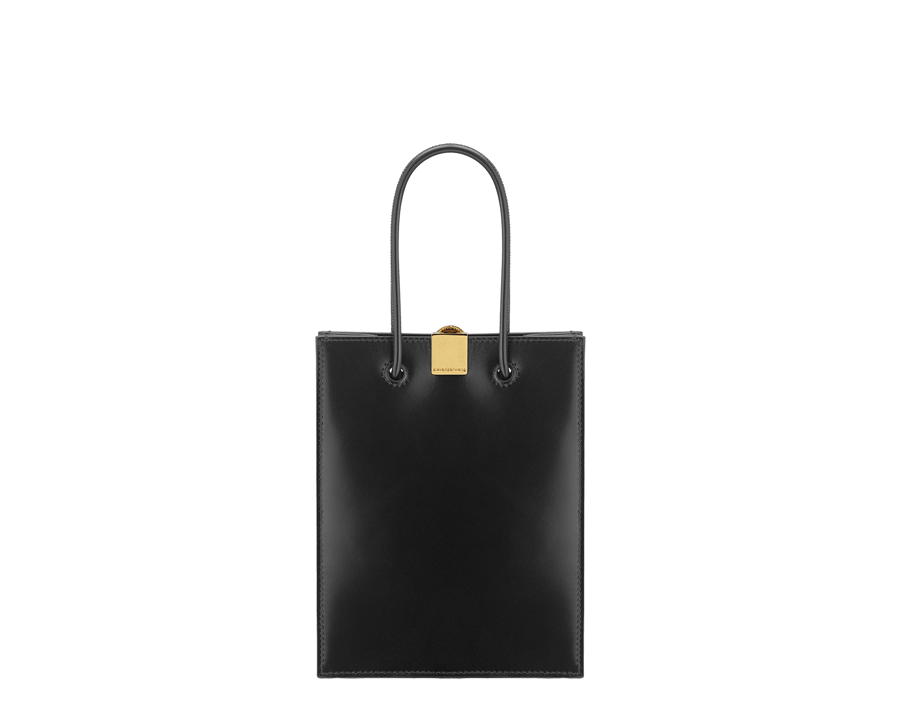 Alexander Wang x Bvlgari mini shopping tote bag in black smooth calf leather. New Serpenti head closure in antique gold plated brass with tempting red enamel eyes. Limited edition. 288726 image 3