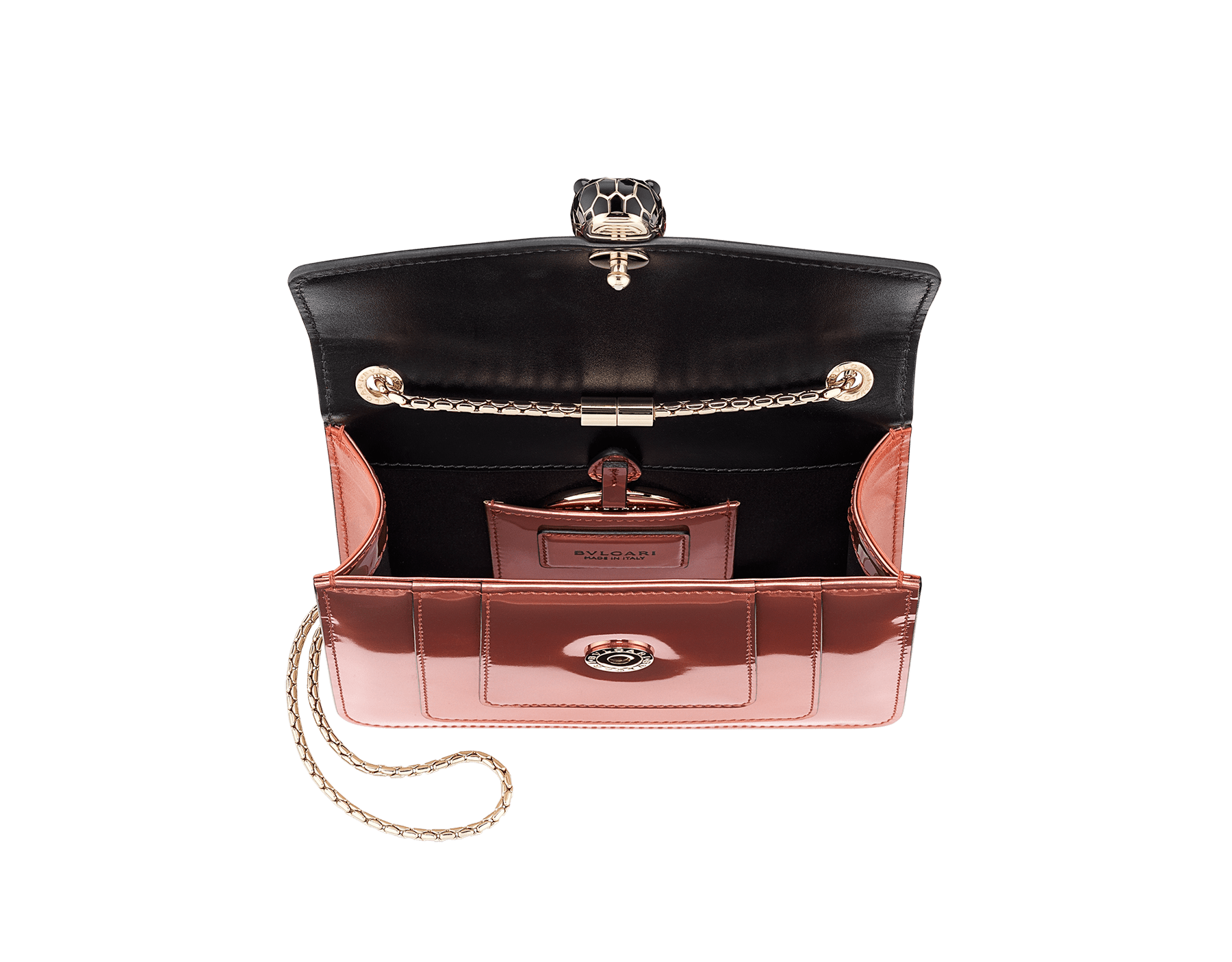 """Serpenti Forever"" crossbody bag in imperial topaz brushed metallic calf leather and tone-on-tone smooth calf leather. Iconic snakehead closure in light gold plated brass embellished with black and imperial topaz enamel and black onyx eyes. 288886 image 5"