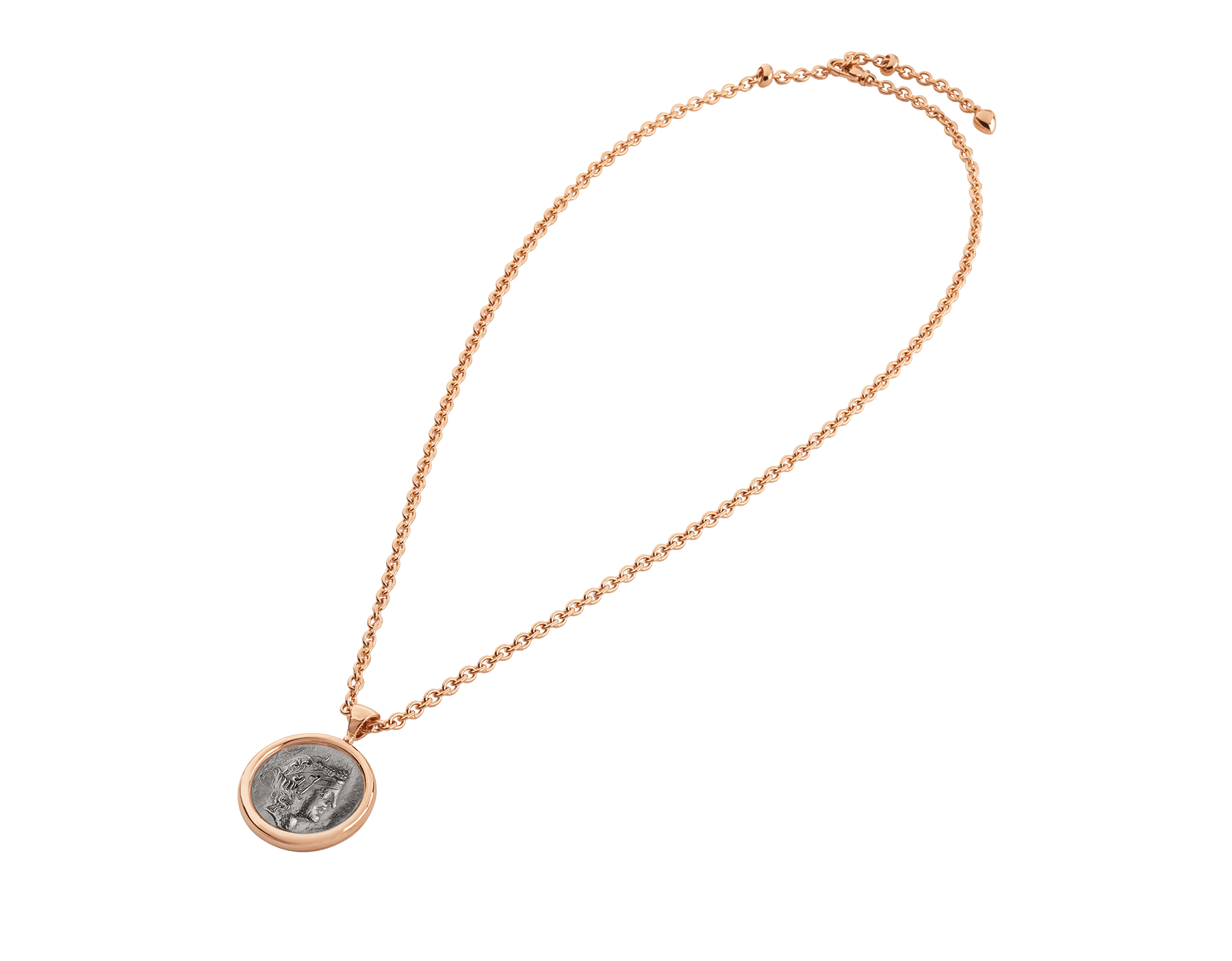 Monete necklace with 18 kt rose gold chain and 18 kt rose gold pendant set with an antique coin 347707 image 2