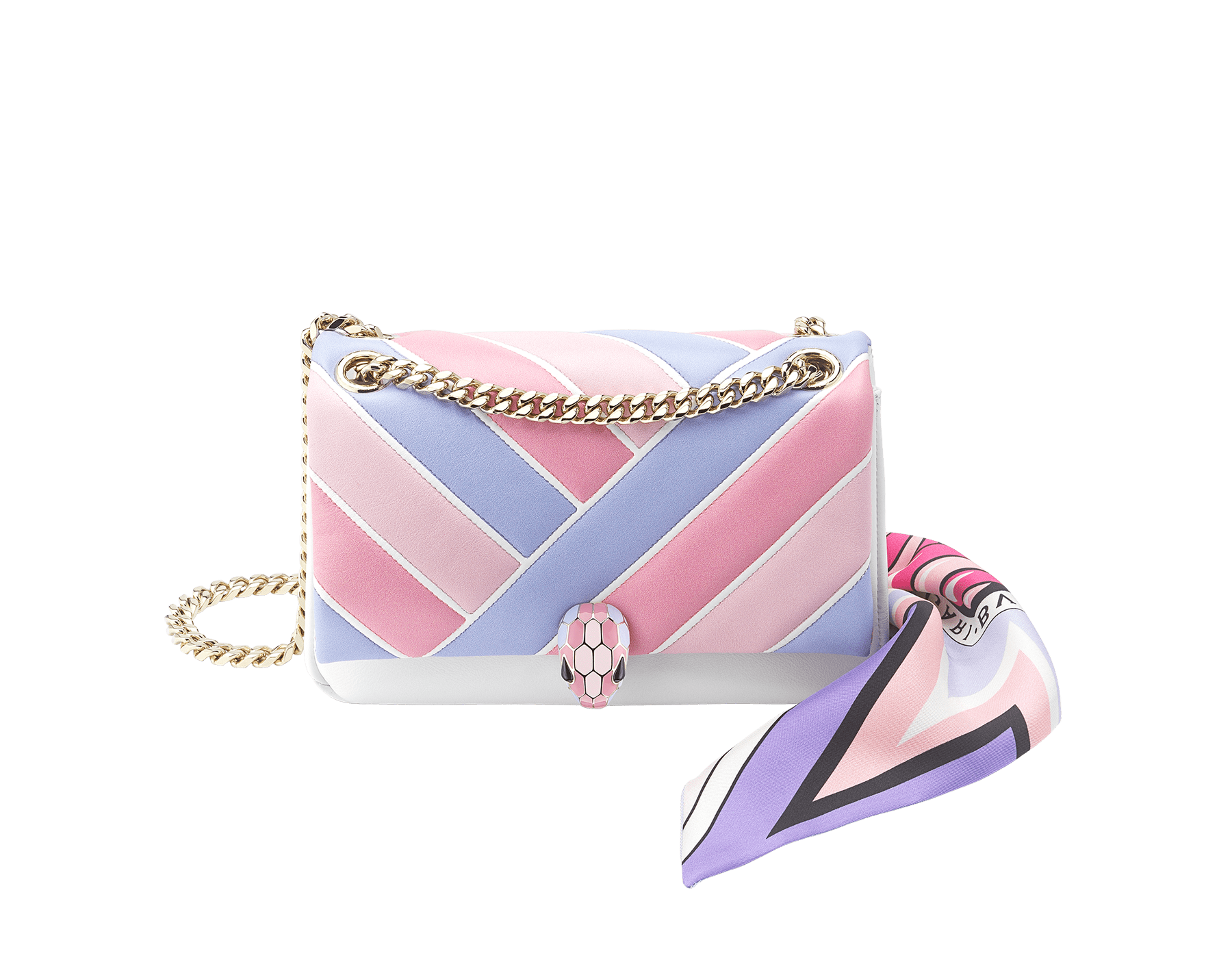 """""Chinese Valentine's Day"""" Special Edition exclusive gift set featuring a bag and a shelley. """"Serpenti Cabochon"""" shoulder bag in soft quilted multicolour flap and back and white agate calf leather front and sides, with a graphic motif. Brass light gold plated tempting snakehead closure in shiny lavender, flamingo quartz and rosa di francia enamel and black onyx eyes. Lavender """"MAXI SHELLEY B"""" shelley in fine silk twill. 290471 image 2"