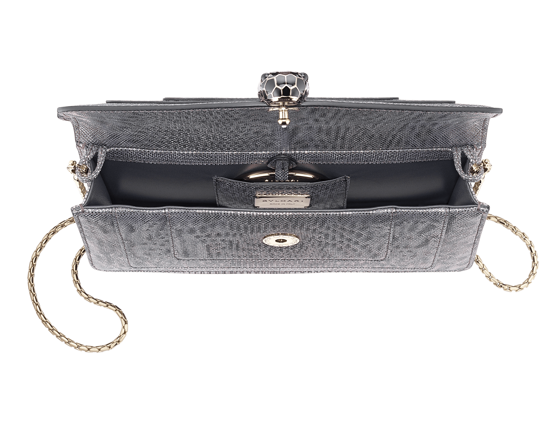 Serpenti Forever shoulder bag in charcoal diamond metallic karung skin. Snakehead closure in light gold plated brass decorated with shiny black and glitter charcoal diamond enamel, and black onyx eyes. 287945 image 4