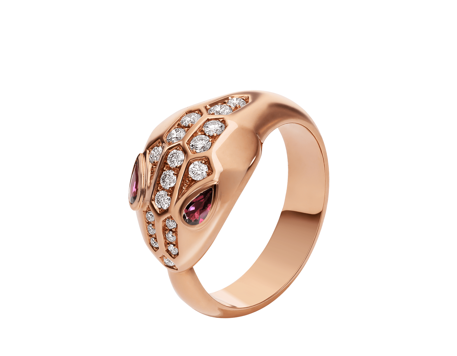 Serpenti ring in 18 kt rose gold, set wit rubellite eyes and demi pavé diamonds. AN857719 image 1