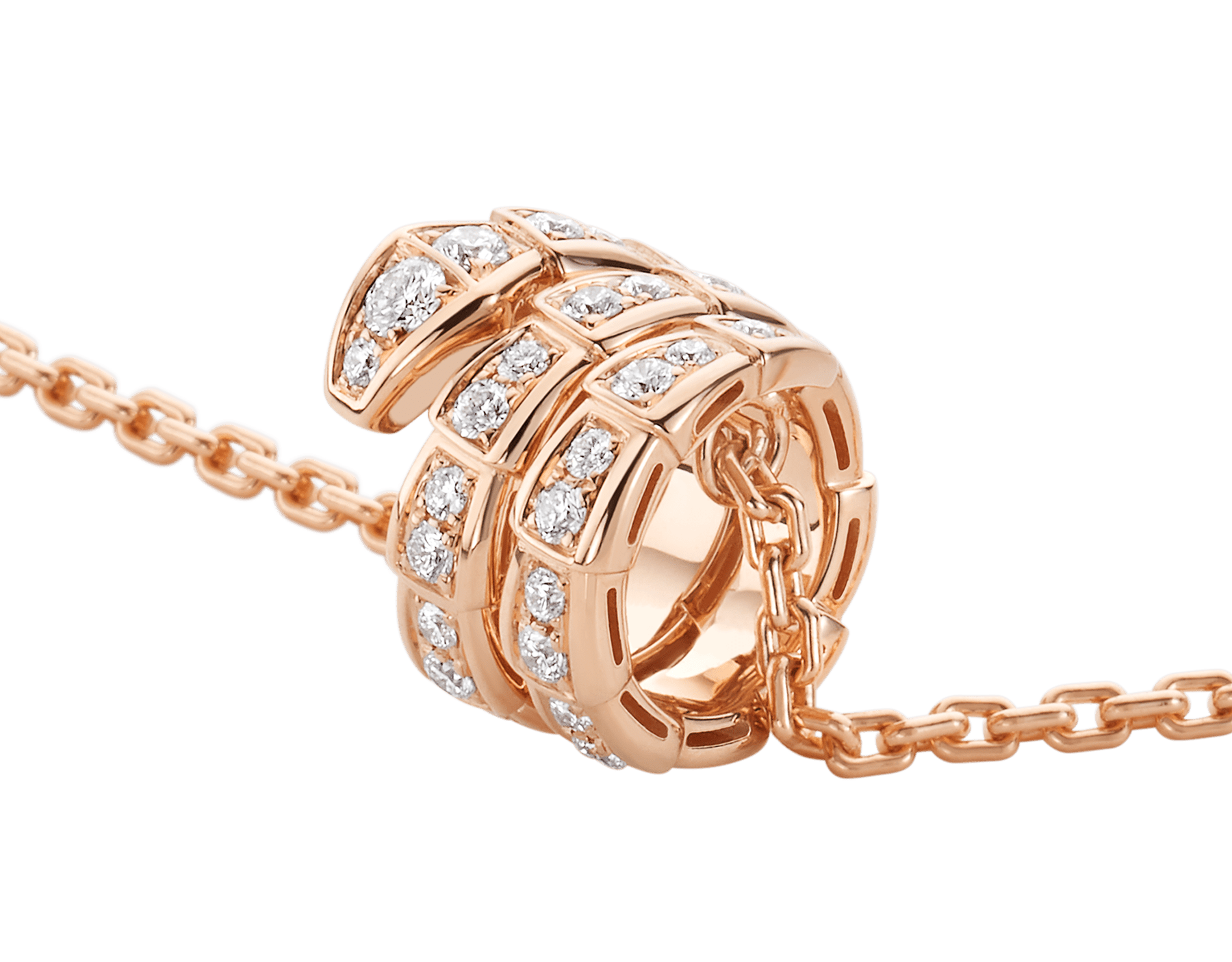 Serpenti Viper pendant necklace in 18 kt rose gold set with pavé diamonds 357795 image 3