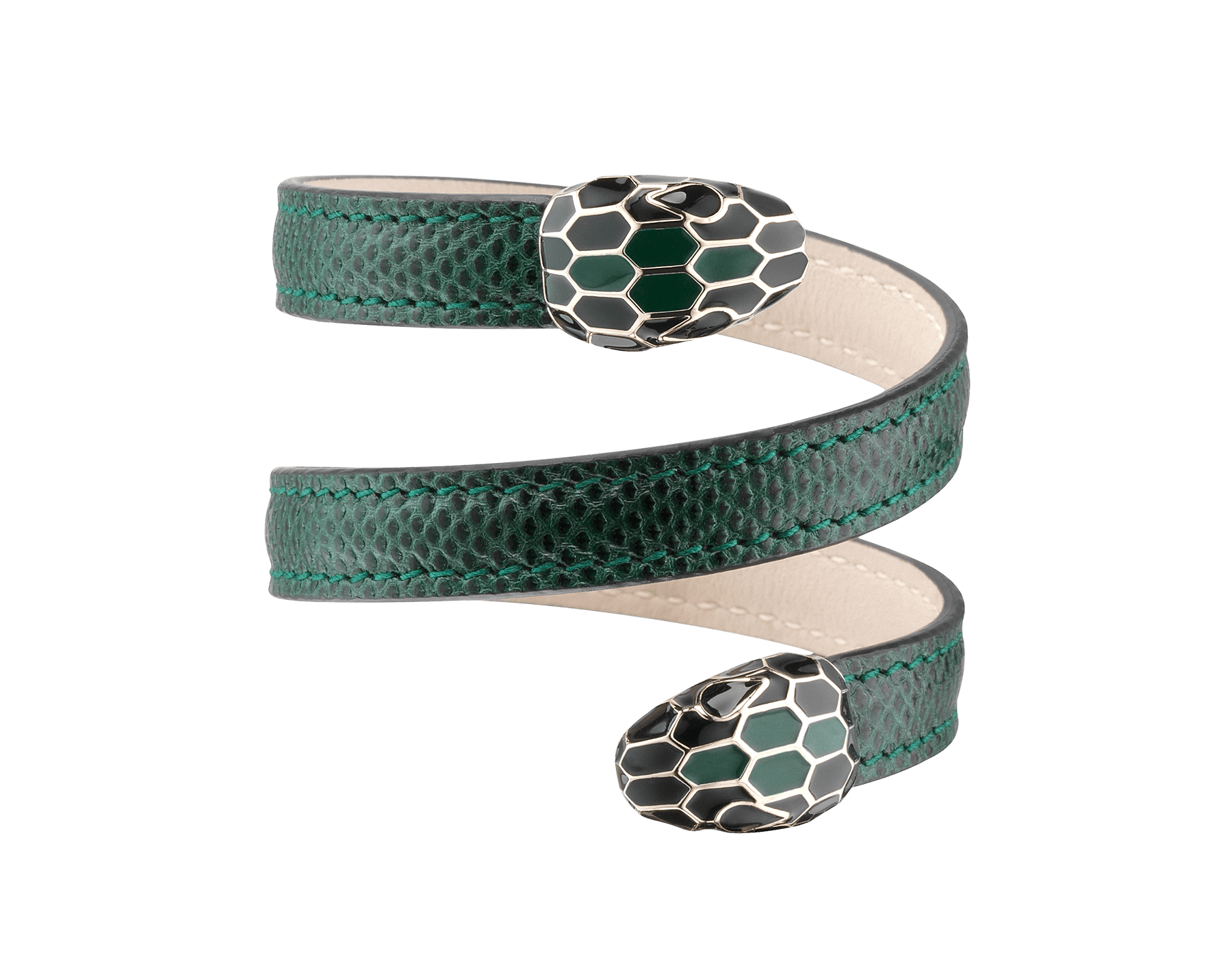 Multi-coiled rigid Cleopatra bracelet in forest emerald shiny karung skin with brass light gold plated hardware. Double tempting Serpenti head finished in black and forest emerald enamel. 284023 image 1