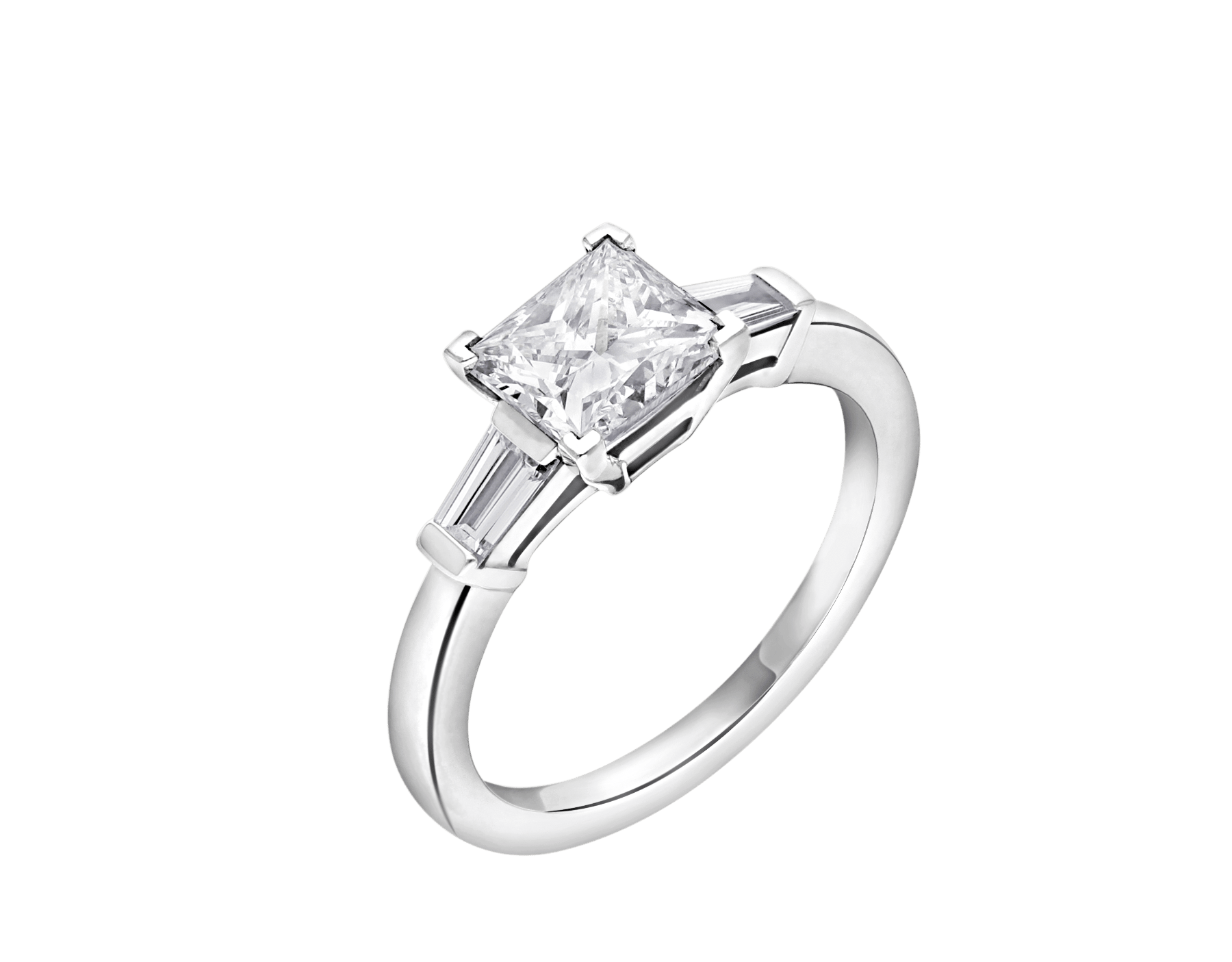 Griffe solitaire ring in platinum with princess cut diamond and two side diamonds. Available in 1 ct. A classic setting that allows the beauty and the pureness of the solitaire diamond to assert itself. 338560 image 2