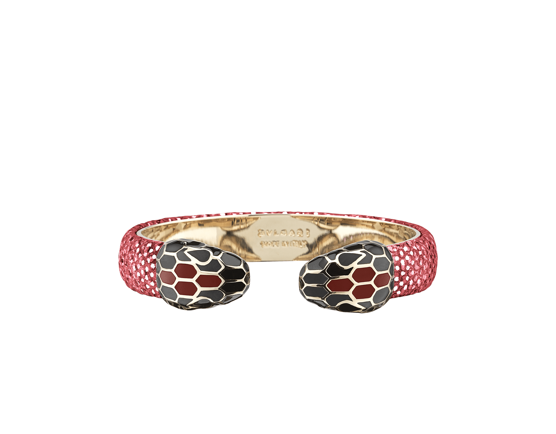 Serpenti Forever bangle bracelet in ruby red metallic karung skin, with brass light gold plated hardware. Iconic contraire snakehead décor in black and white enamel, with green enamel eyes SPContr-MK-RR image 1