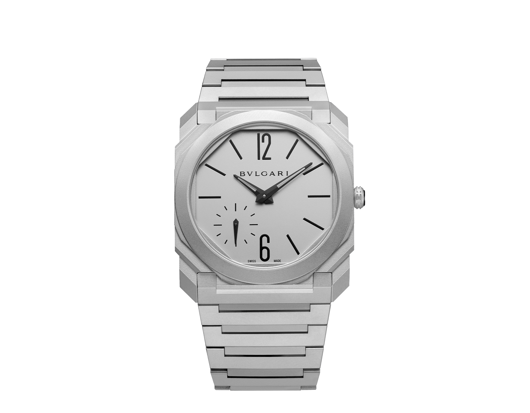 Octo Finissimo Automatic watch with mechanical manufacture movement, automatic winding, platinum microrotor, small seconds, extra-thin stainless steel case, dial and bracelet 103011 image 1