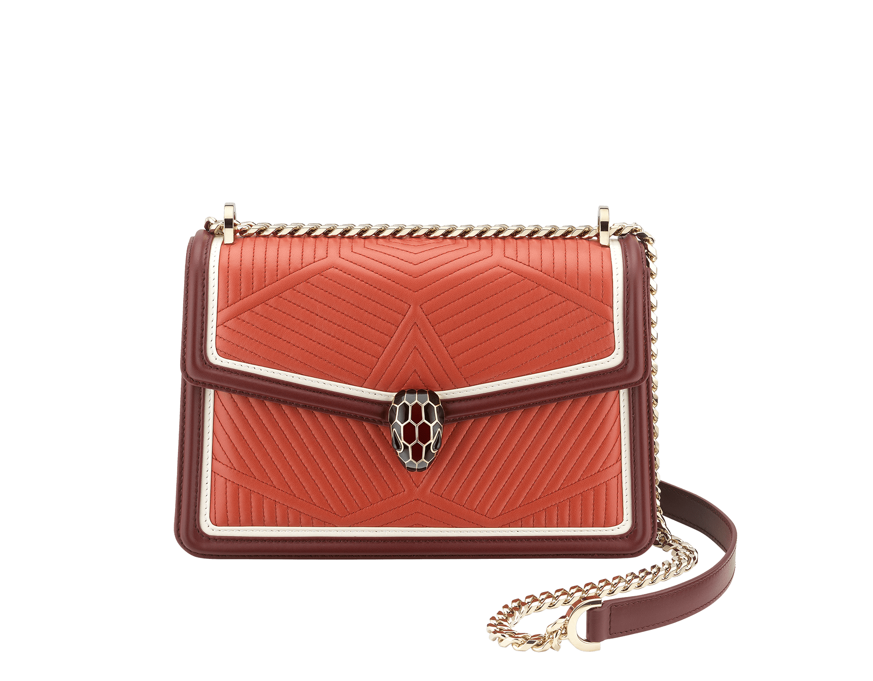 Serpenti Diamond Blast shoulder bag in imperial topaz quilted nappa leather with white agate and Roman garnet calf leather frames. Iconic snakehead closure in light gold plated brass embellished with Roman garnet and black enamel and black onyx eyes. 288827 image 1