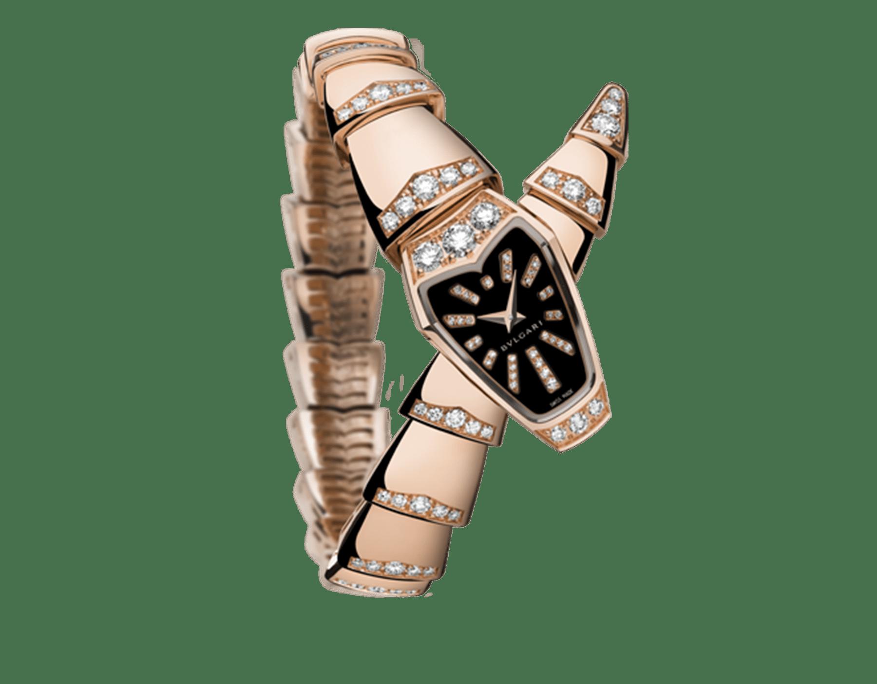 Serpenti Schmuckuhr mit Gehäuse aus 18Karat Roségold und einfach geschwungenem Armband, beide mit Diamanten im Brillantschliff besetzt, schwarzem Saphirglaszifferblatt und Diamantindizes im Brillantschliff. 102344 image 1
