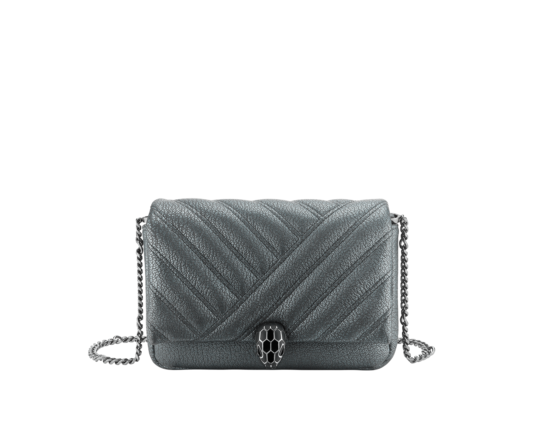 """Serpenti Cabochon"" crossbody mini bag in soft matelassé charcoal diamond goatskin with a pearled effect and a graphic motif. Brass palladium plated tempting snakehead closure in matte and shiny black enamel and black onyx eyes. 290276 image 1"