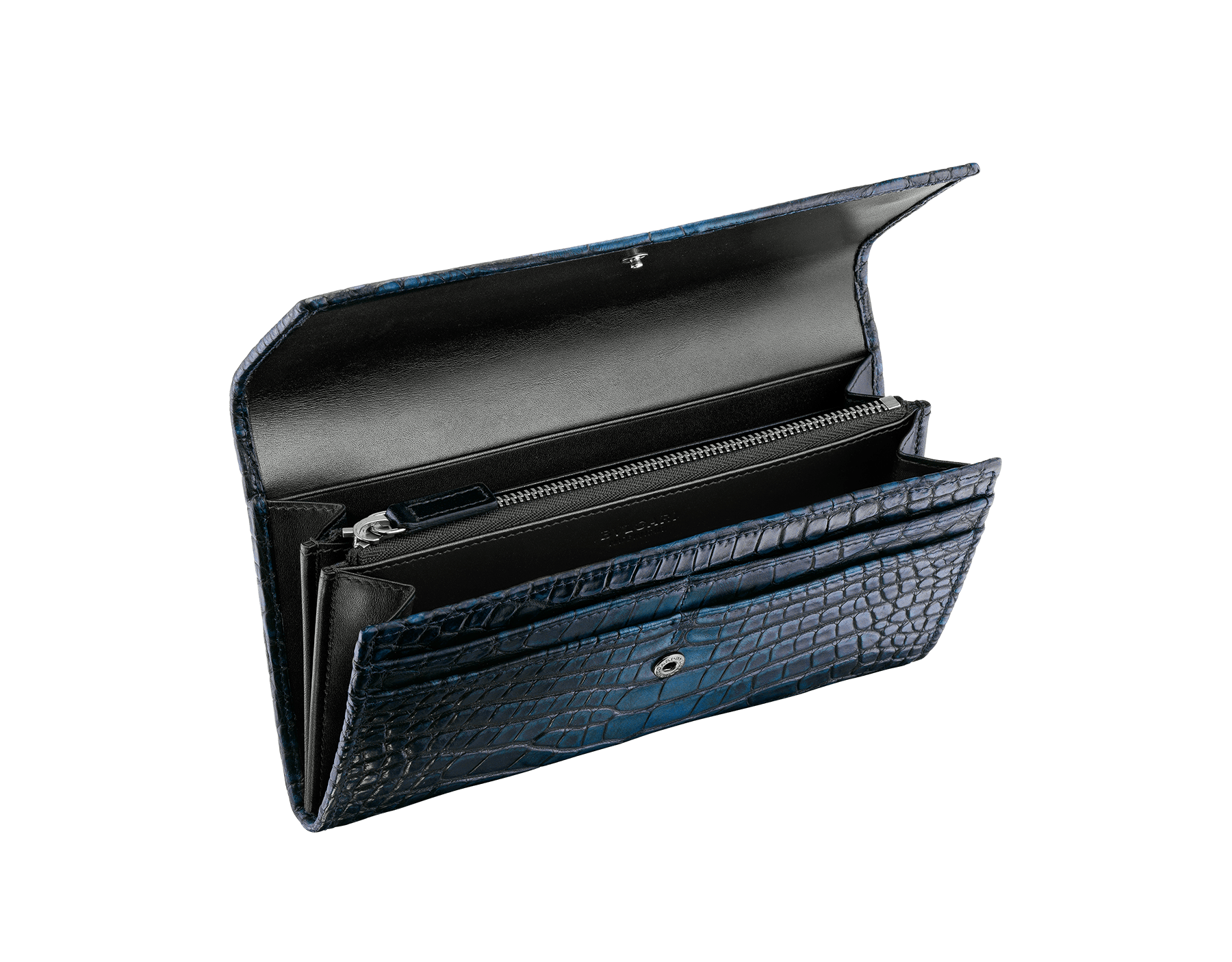 Man wallet pochette in Jungle green alligator skin and black smooth calf leather, with brass dark ruthenium plated hardware featuring the Bulgari-Bulgari motif. BBM-WLT-POC-10C-HE image 2