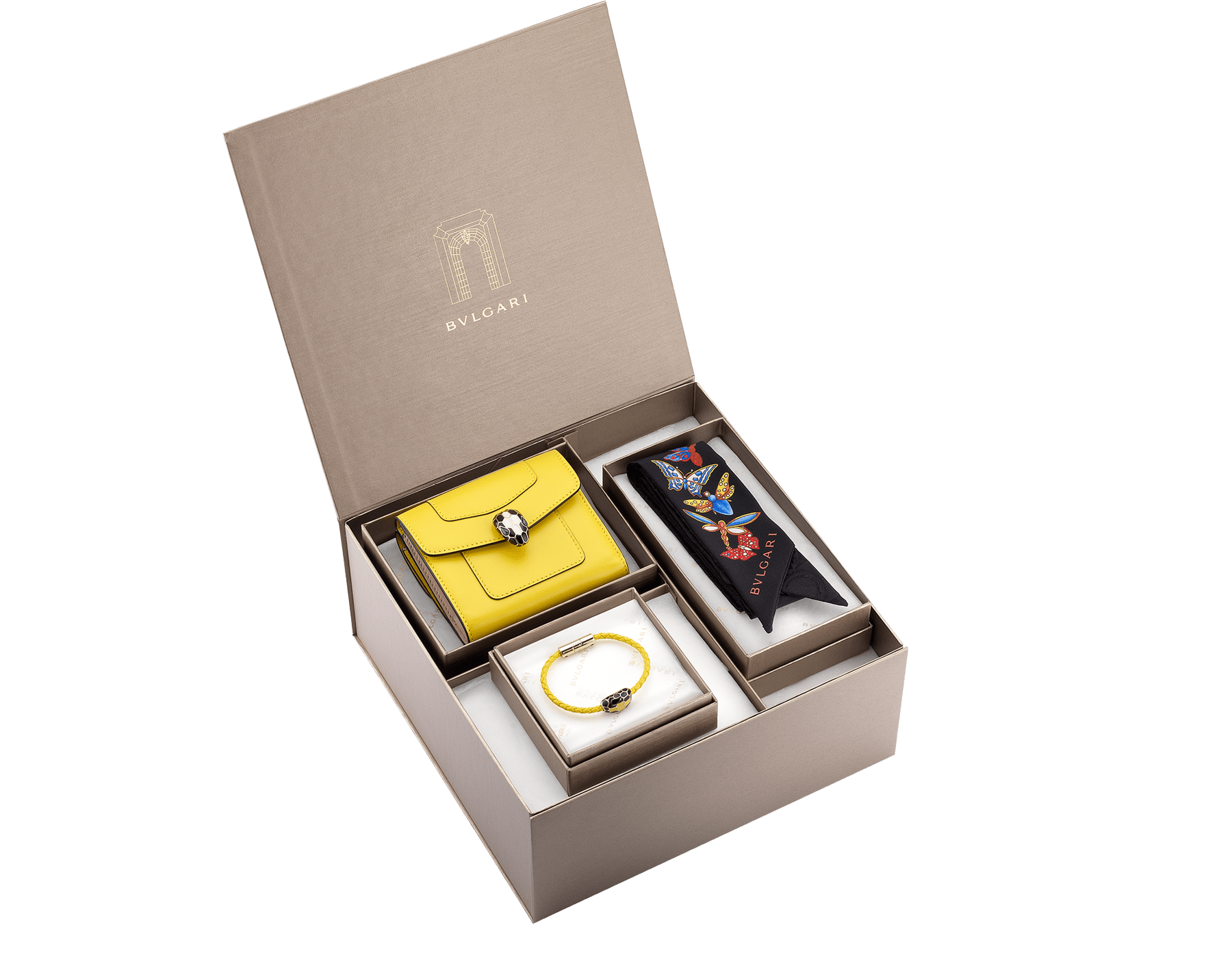 An elegant box of Bvlgari creations for a special gift. Unleash your creativity and choose the perfect combination.    <br>*Note that not all colour variants may be available.<br> women-gift-set-wallet-bracelet-and-shelley image 1
