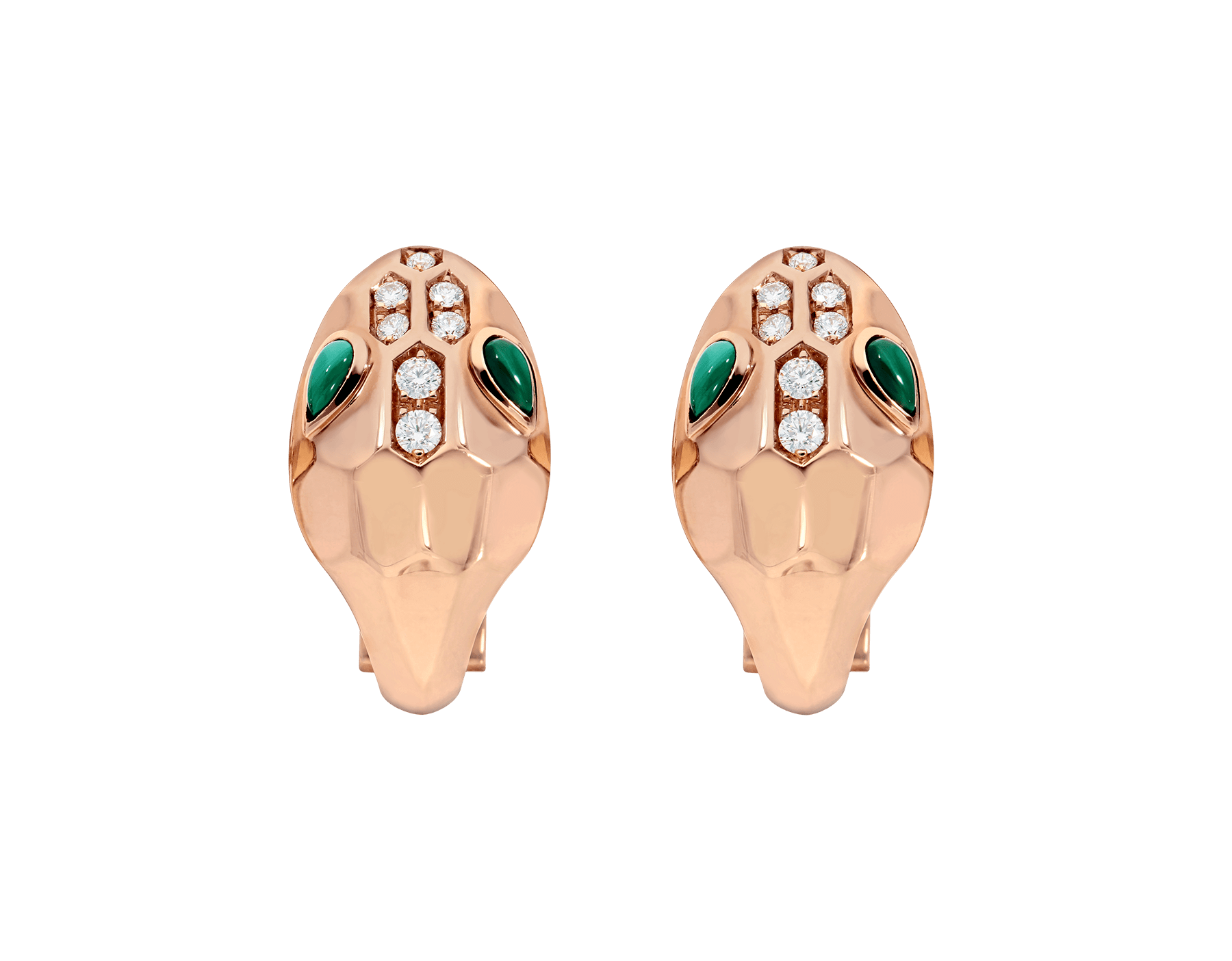 Serpenti earrings in 18 kt rose gold, set with malachite eyes and demi pavé diamonds. 352701 image 1
