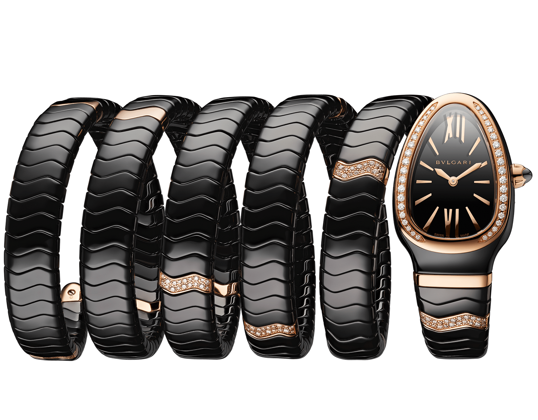 Serpenti Spiga five-spiral watch with black ceramic case, 18 kt rose gold bezel set with diamonds, black lacquered dial, black ceramic bracelet set with 18 kt rose gold elements and diamonds 102888 image 1