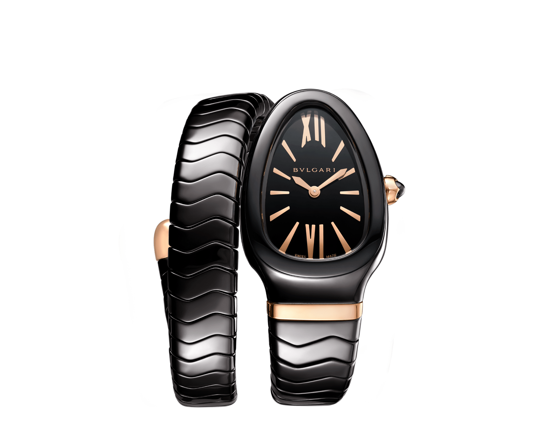 Serpenti Spiga single spiral watch with black ceramic case, black lacquered dial and black ceramic bracelet set with 18 kt rose gold elements. 102734 image 1