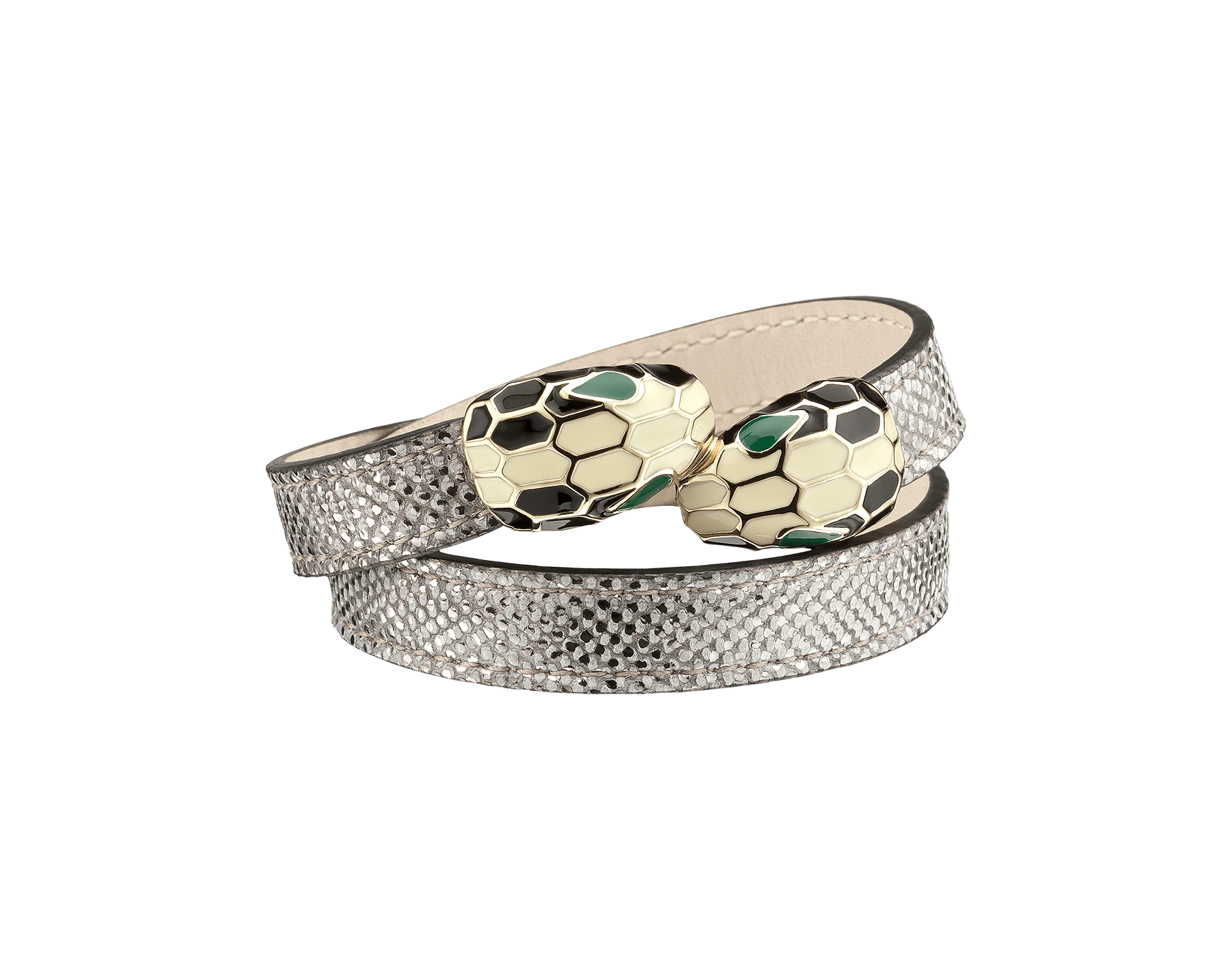 Multi-coiled bracelet in silver metallic karung skin. Brass light gold plated iconic contraire Serpenti heads in black and white enamel, with green enamel eyes. MCSerp-MK-S image 1