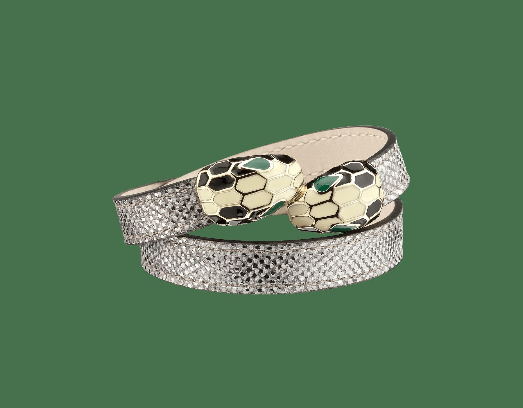 Bracelet multi-tours en karung métallisé couleur argent. Fermoir double Serpenti emblématique en laiton doré et émail noir et blanc avec yeux en émail vert. MCSerp-MK-S image 1