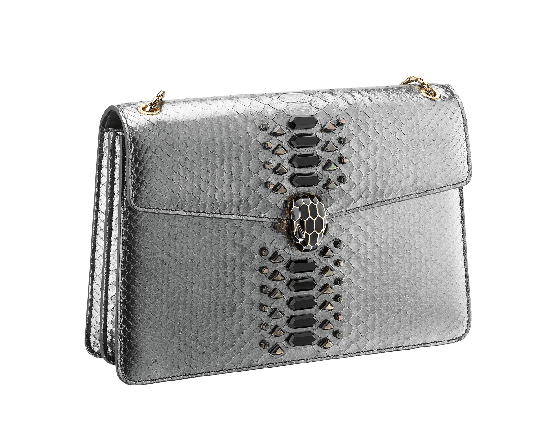 """""""Serpenti Forever"""" shoulder bag black Diamond Glam python skin. Iconic snake head closure in palladium plated brass enriched with black enamel and black onyx eyes. 521-Pc image 2"""