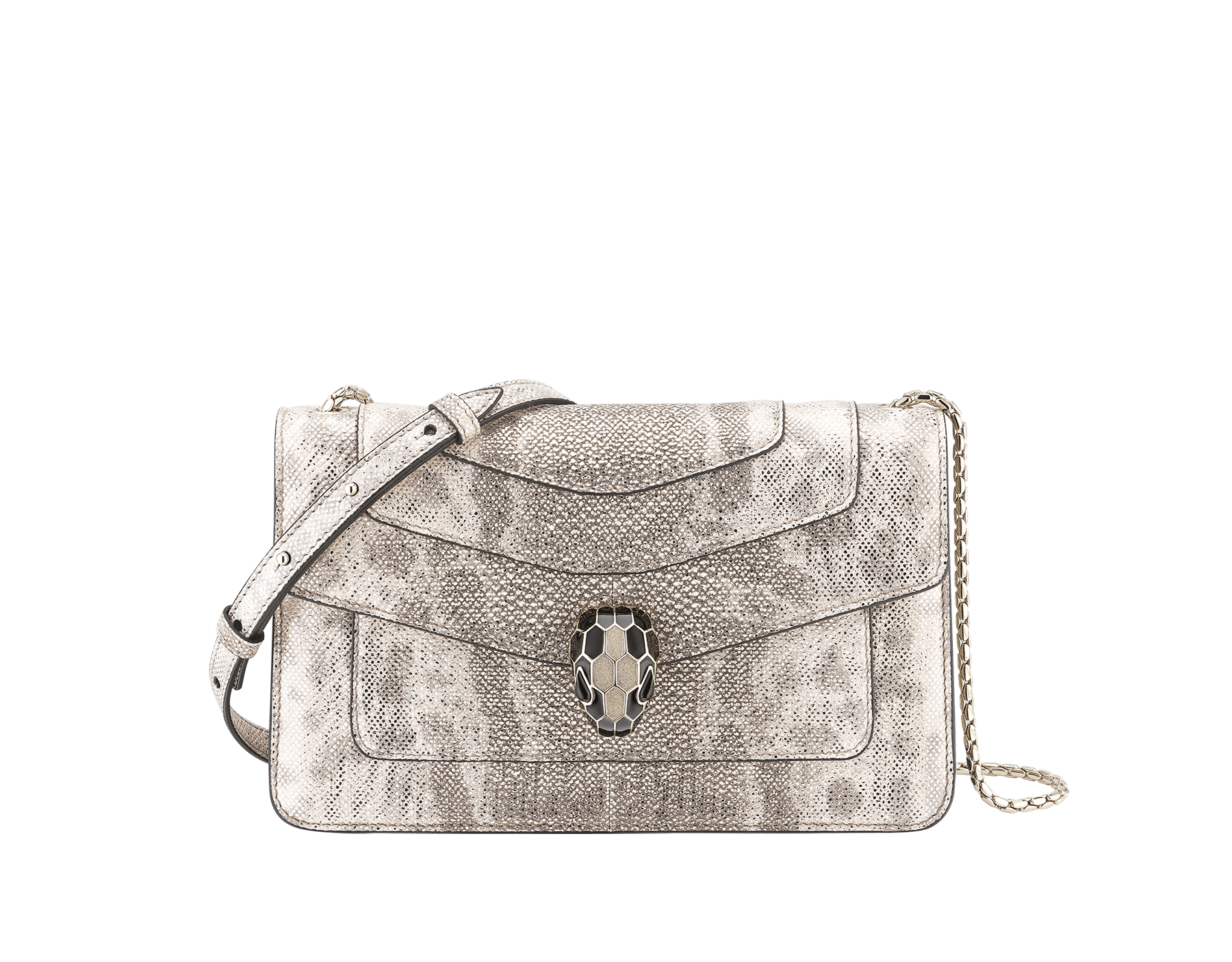 """Serpenti Forever"" crossbody bag in milky opal metallic karung. Iconic snake head closure in light gold plated brass enriched with black and glitter milky opal and black onyx eyes. 289556 image 1"