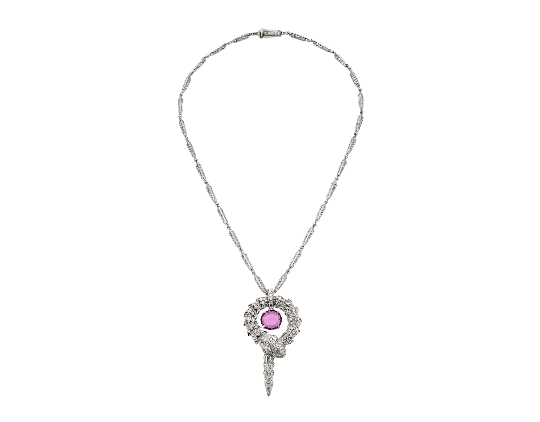 Serpenti small pendant in 18 kt white gold with amethyst and pavé diamonds. 354087 image 2