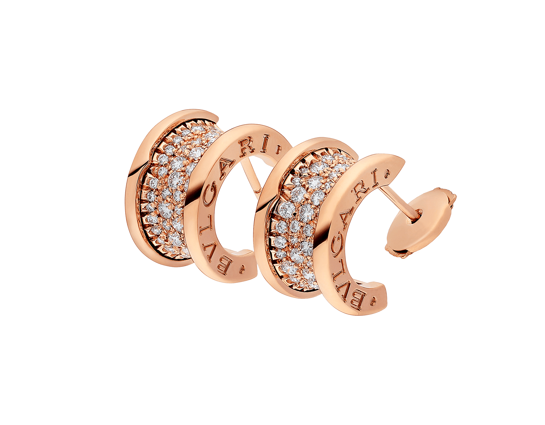 B.zero1 earrings in 18 kt rose gold set with pavé diamonds on the spiral. 347814 image 2