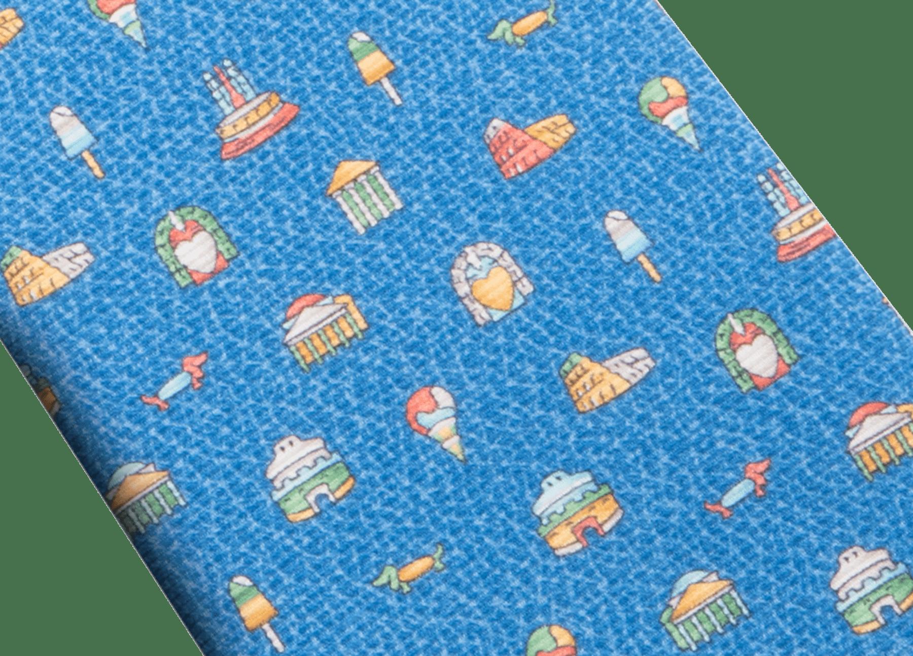 ライトブルーのチッタ エテルナ セブンフォールドネクタイ。上質なサリオーネプリントシルク製。 244352 image 2