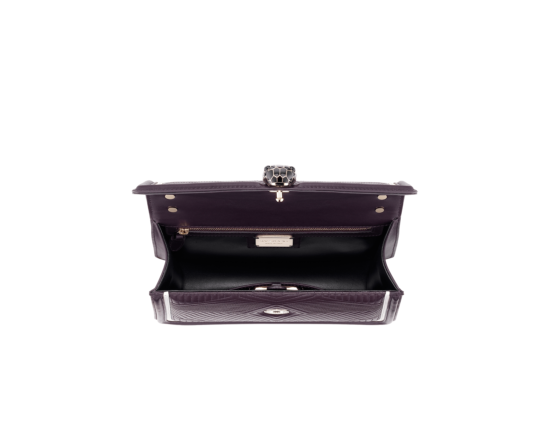 """Serpenti Diamond Blast"" shoulder bag in plum amethyst quilted nappa leather body and tone-on-tone and white calf leather frames. Iconic snakehead closure in light gold-plated brass enriched with plum amethyst and black enamel and black onyx eyes. 288635 image 3"