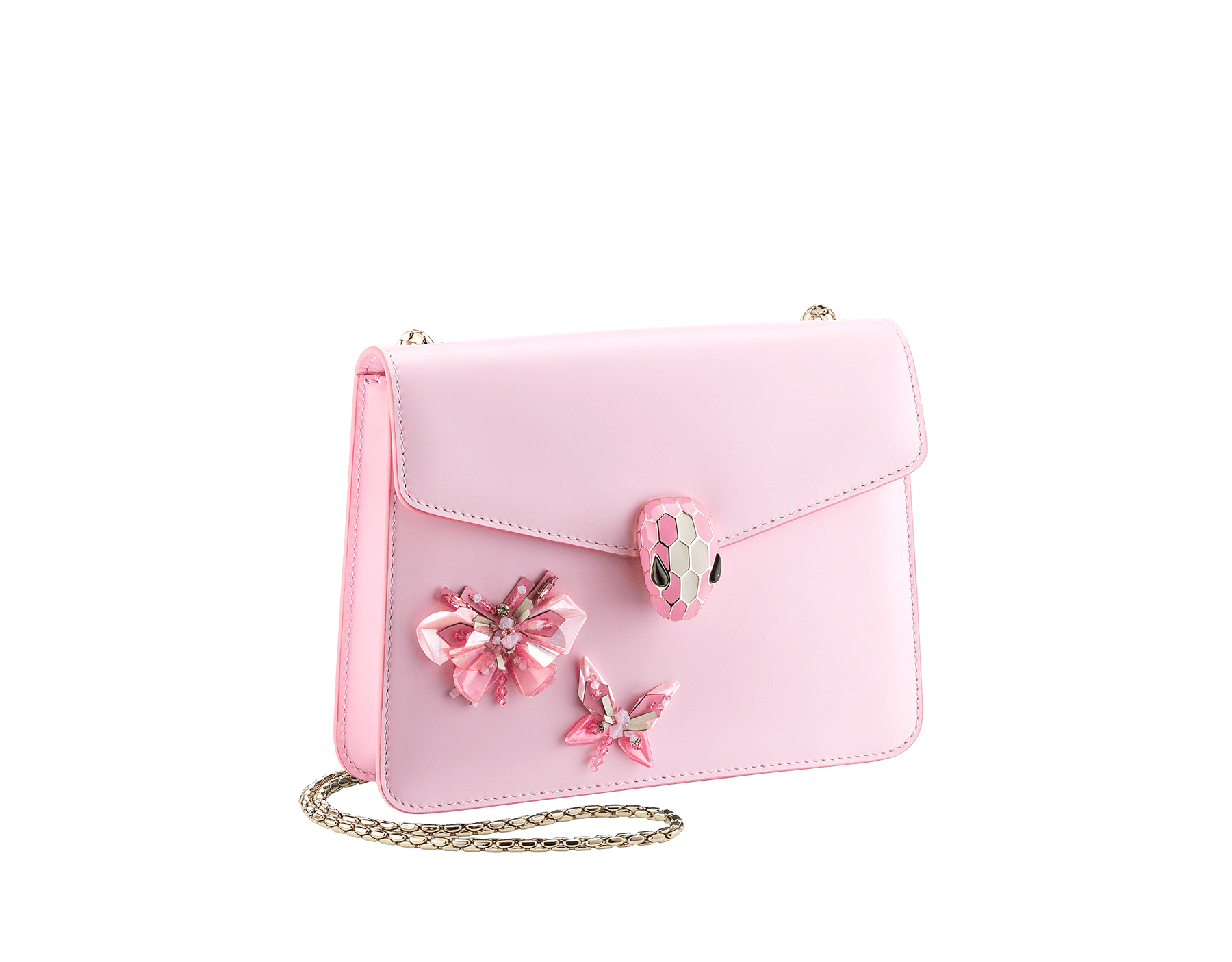 """Serpenti Forever"" crossbody bag in rosa di francia calf leather with two rosa di francia butterflies embroidered. Iconic snakehead closure in light gold plated brass enriched with rosa di francia and white agate enamel and black onyx eyes. 289239 image 2"
