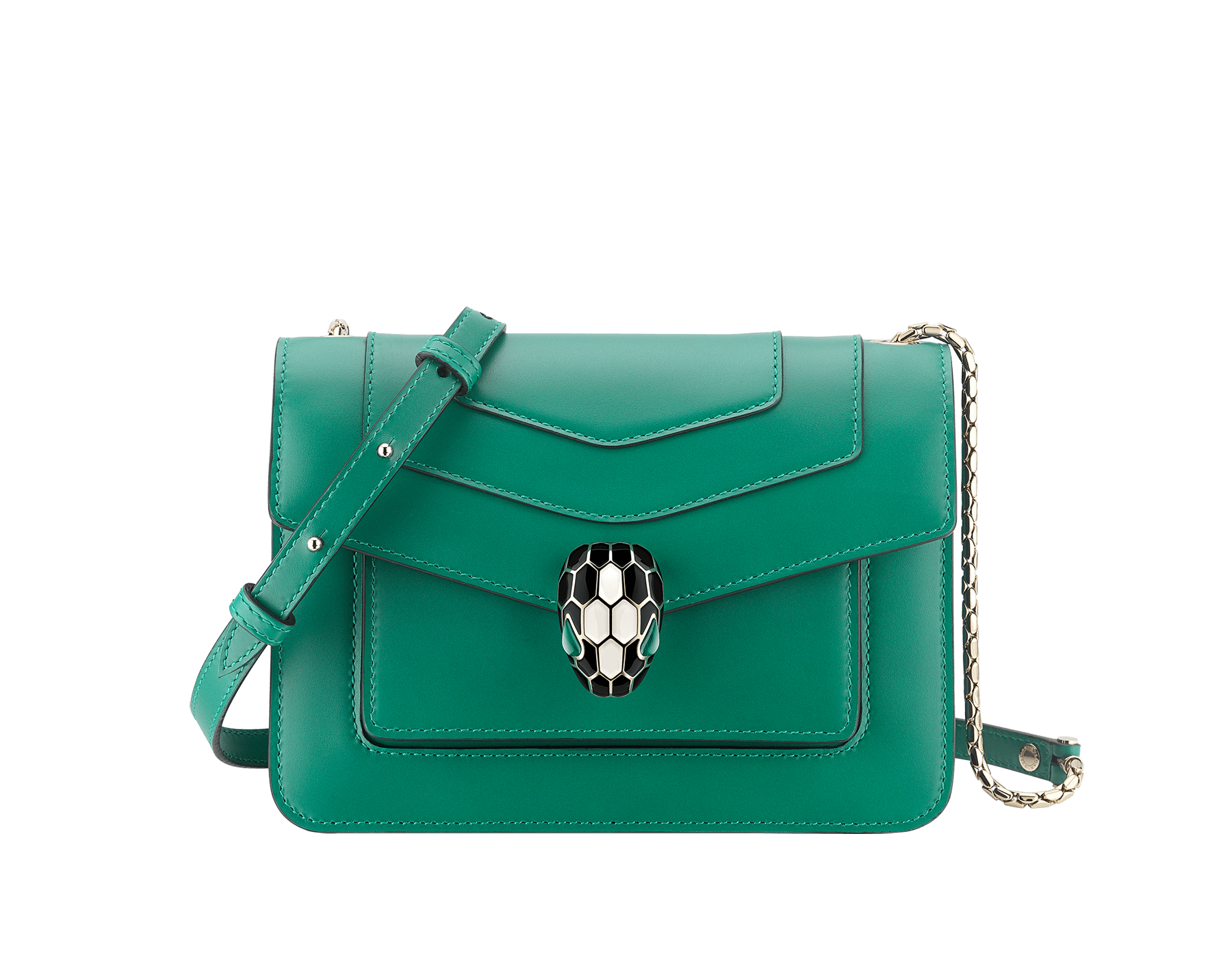 """Serpenti Forever"" crossbody bag in emerald green calf leather. Iconic snake head closure in light gold plated brass enhanced with black and white agate enamel and green malachite eyes. 1082-CLa image 1"