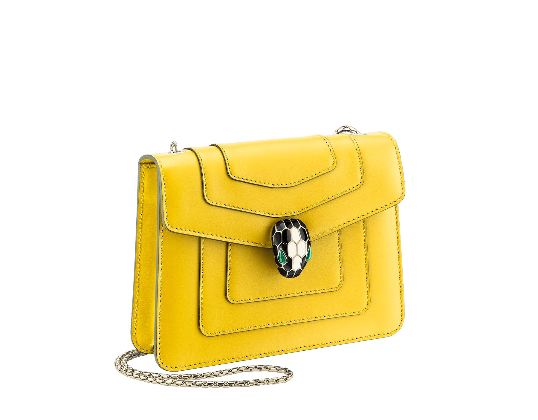 """Serpenti Forever"" crossbody bag in daisy topaz calf leather. Iconic snakehead closure in light gold plated brass enriched with black and white agate enamel, and green malachite eyes. 289650 image 2"