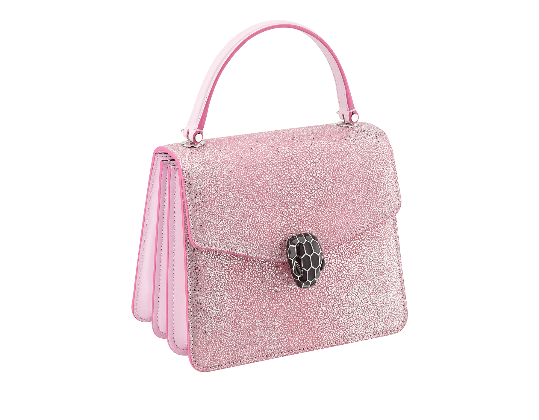 """Serpenti Forever"" crossbody bag in rosa di francia crystal galuchat body and rosa di francia calf leather sides. Iconic snake head closure in palladium-plated brass enriched with black enamel and black onyx eyes. 289459 image 2"