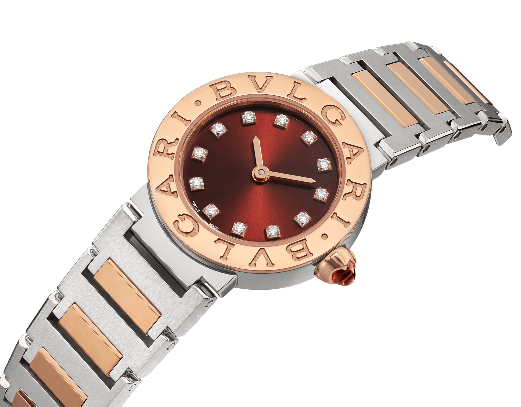 BVLGARI BVLGARI watch in 18 kt rose gold and stainless steel case and bracelet, 18 kt rose gold bezel engraved with double logo, brown satiné soleil lacquered dial and diamond indexes 103218 image 2