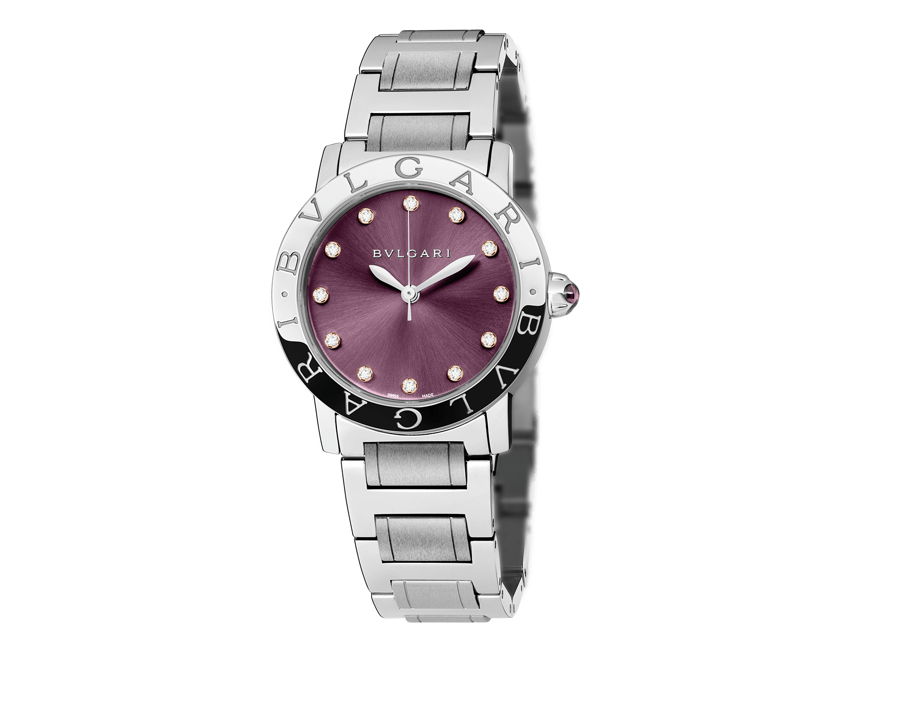 BVLGARI BVLGARI watch in stainless steel case and bracelet, with purple satiné soleil lacquered dial and diamond indexes 102607 image 1