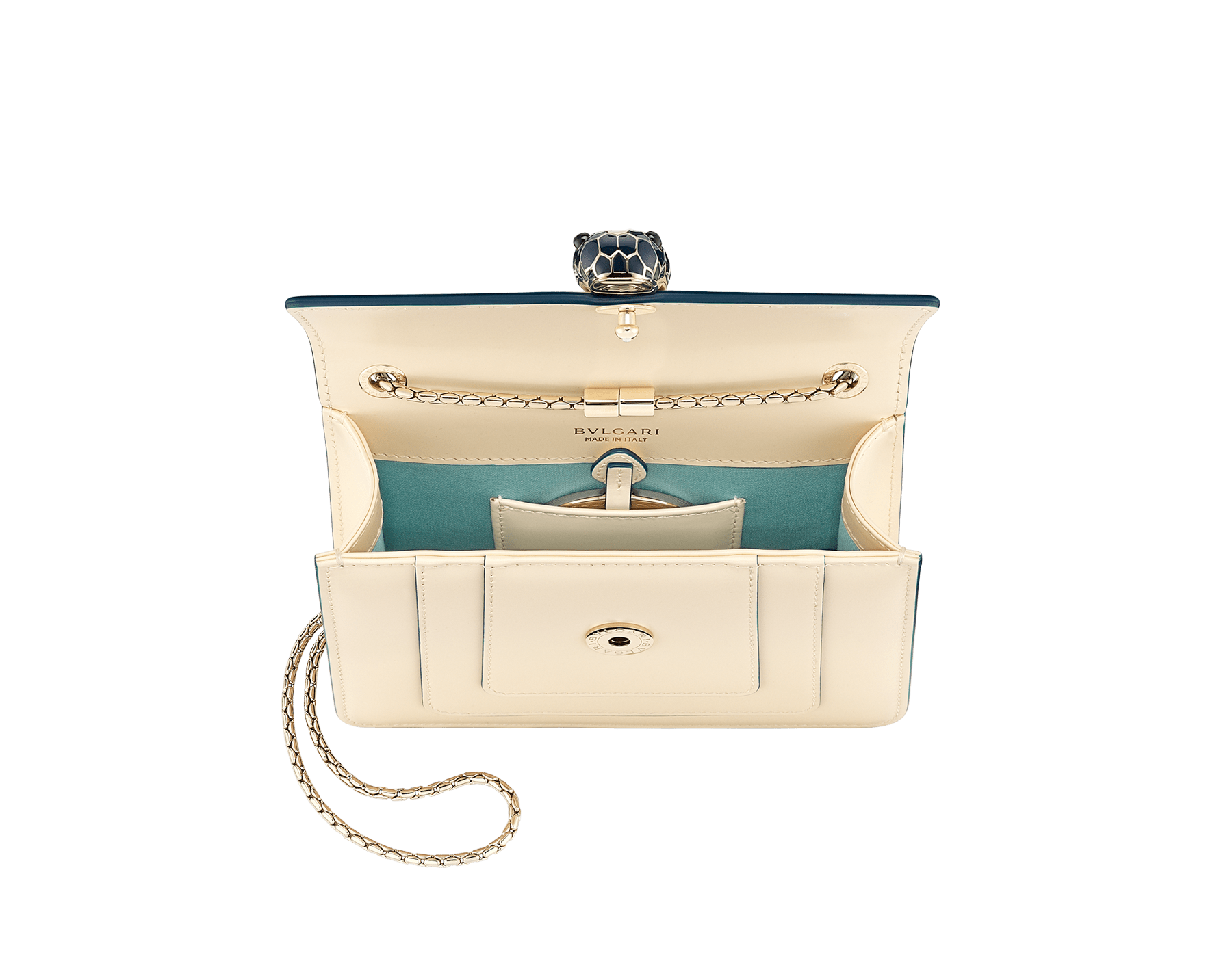 """""""Serpenti Forever"""" crossbody bag in peach calf leather with Pink Spinel fuchsia grosgrain inner lining. Iconic snakehead closure in light gold-plated brass enriched with black and white agate enamel and green malachite eyes. 422-CLb image 4"""