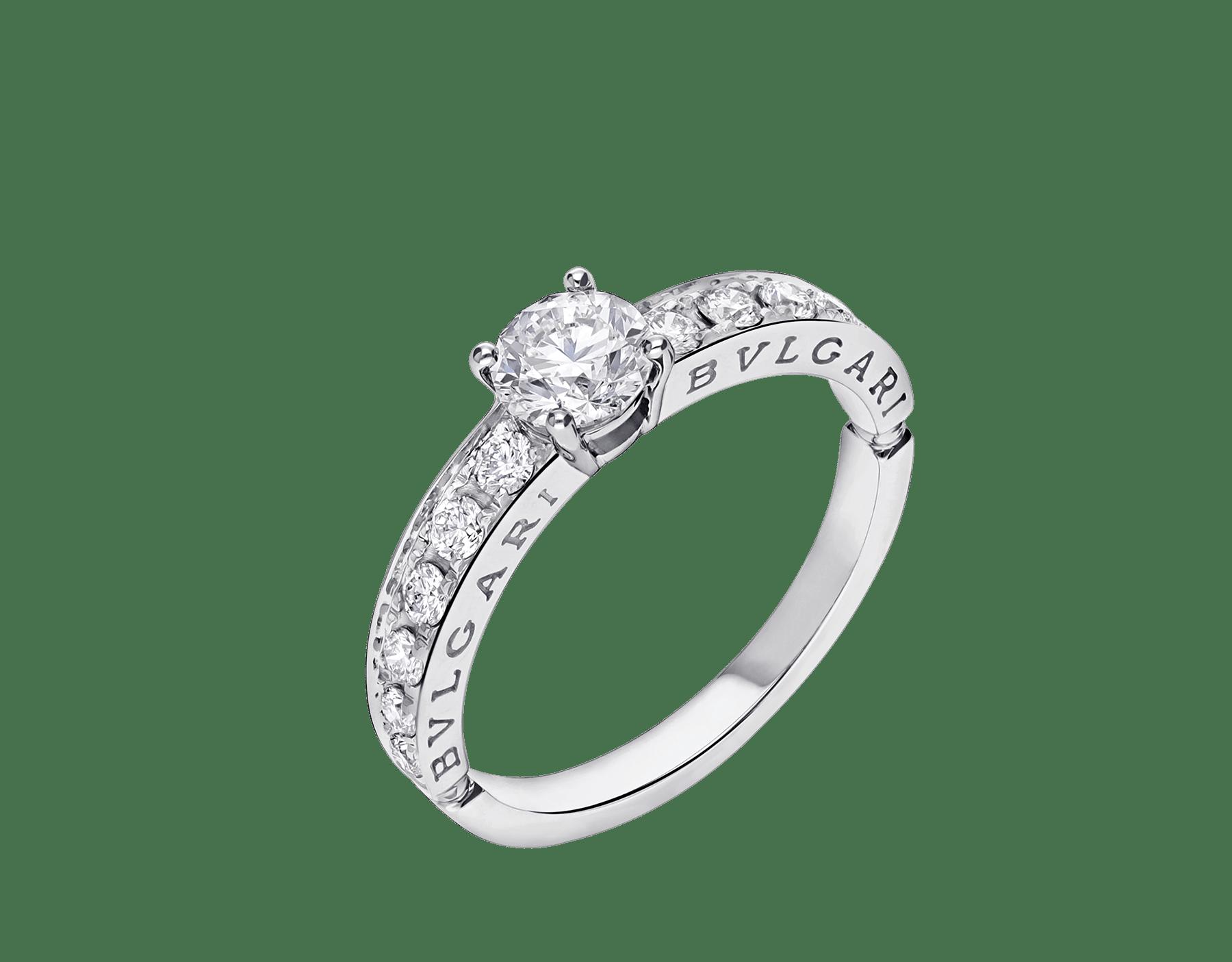 Anello 1503 – Dedicata a Venezia in platino con diamante tondo taglio brillante e pavé di diamanti. 343211 image 2