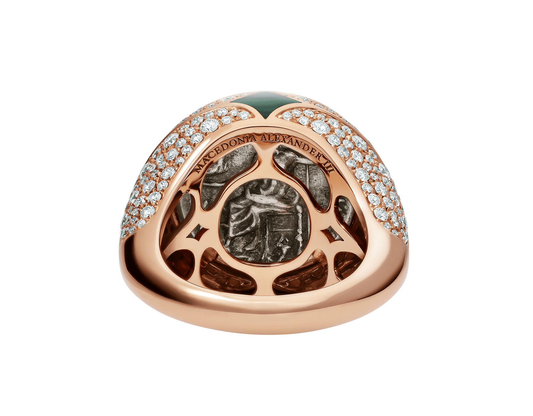 Monete 18 kt rose gold ring set with an ancient coin, malachite elements and pavé diamonds AN858468 image 4