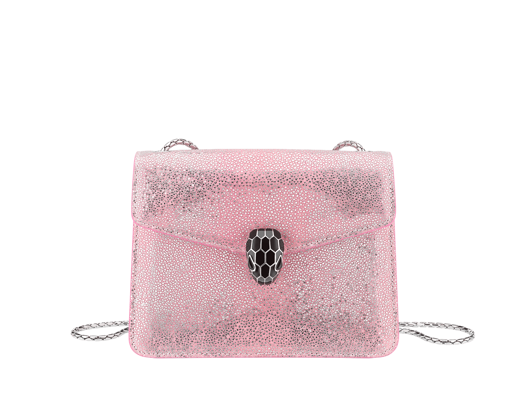 """Serpenti Forever"" crossbody bag in rosa di francia crystal galuchat skin. Iconic snake head closure in palladium plated brass enriched with black enamel and black onyx eyes. 289408 image 1"