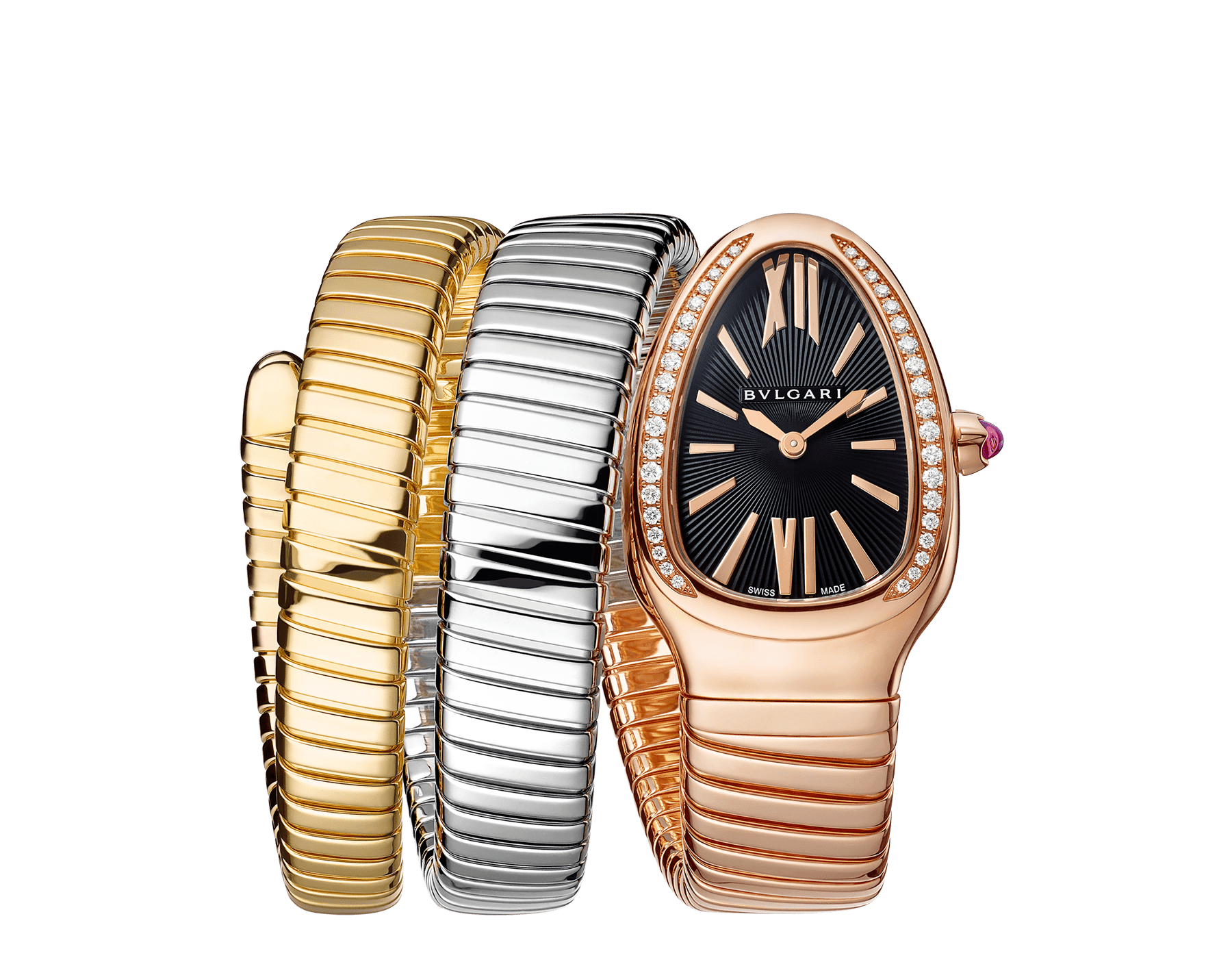 Serpenti Tubogas double spiral watch with 18 kt rose gold case set with round brilliant-cut diamonds, black opaline dial and 18 kt rose, yellow and white gold bracelet 102948 image 1