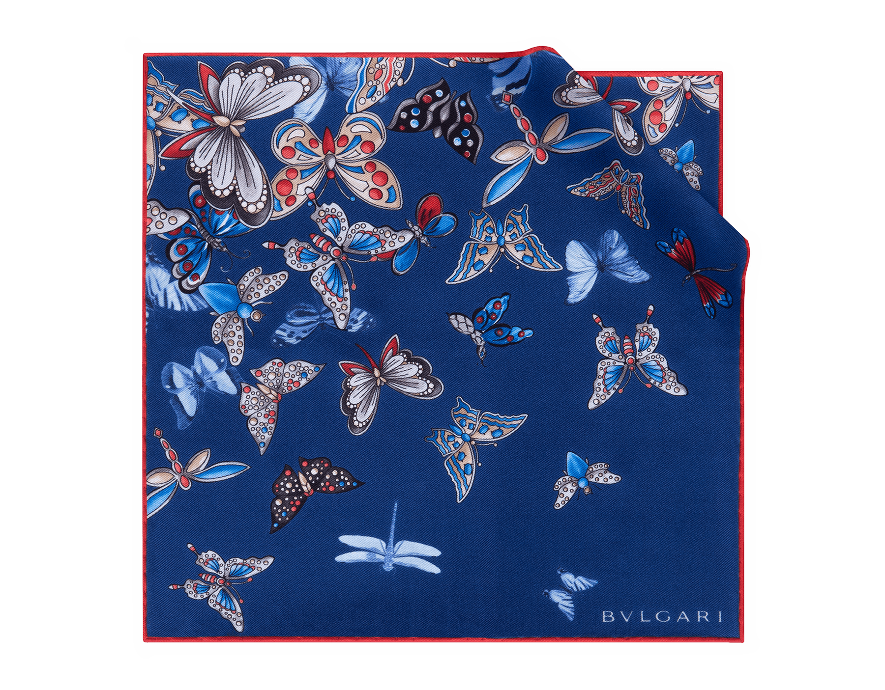 Royal Sapphire B Fly Man pochette in fine silk. 244285 image 1
