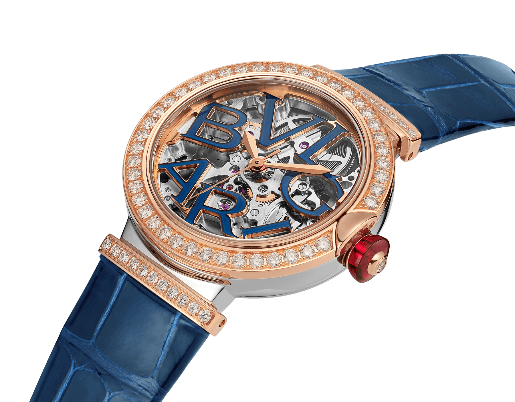 LVCEA Skeleton watch with mechanical manufacture movement, automatic winding and skeleton execution, polished stainless steel case, 18 kt rose gold bezel and links set with diamonds, blue lacquered openwork BVLGARI logo dial and blue alligator bracelet. Water-resistant up to 30 metres 103304 image 2