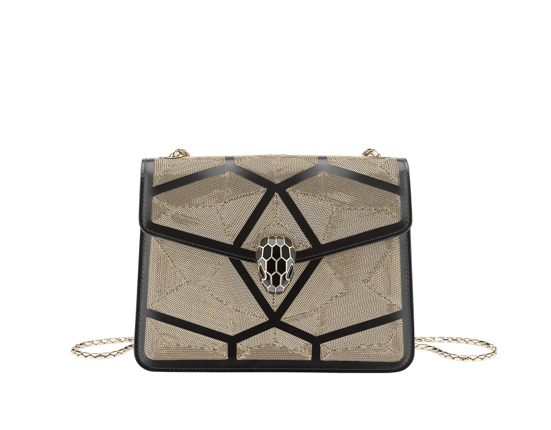 """Serpenti Forever"" crossbody bag in black calf leather with a Million Chain motif. Iconic snake head closure in light gold plated brass enriched with black enamel and black onyx eyes. 288904 image 1"
