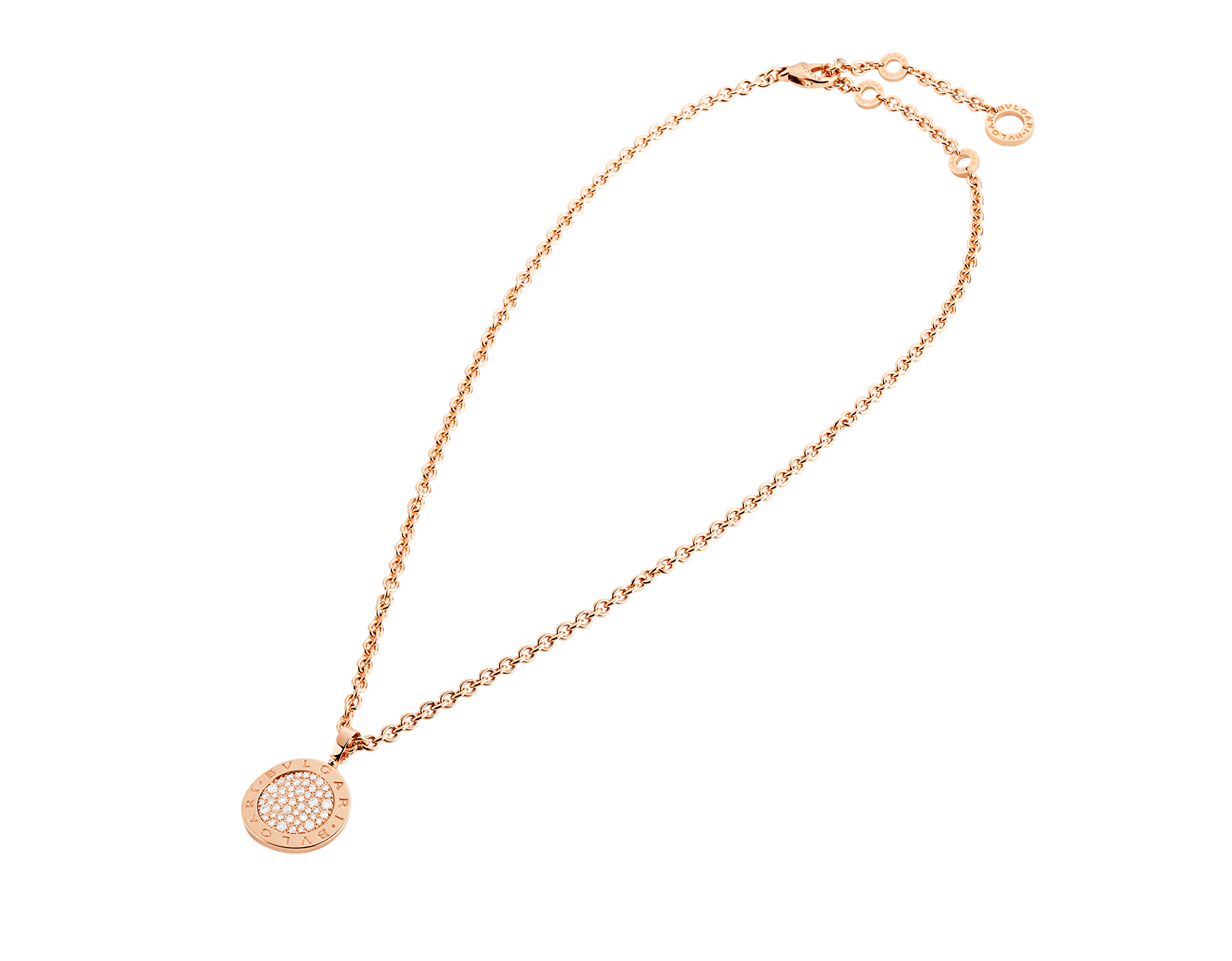 BVLGARI BVLGARI necklace with 18 kt rose gold chain and 18 kt rose gold pendant set with pavé diamonds 345277 image 2