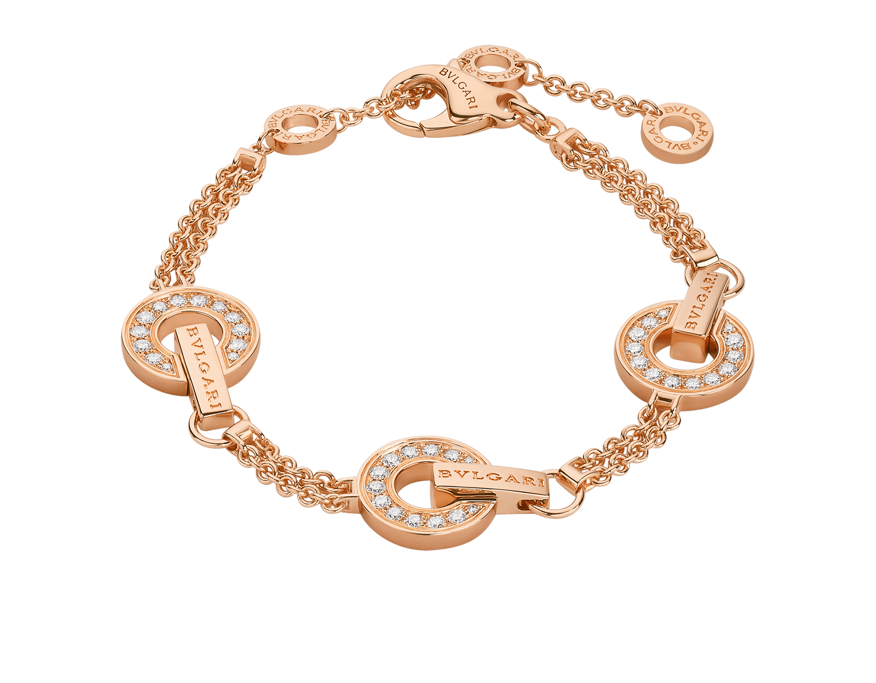BVLGARI BVLGARI openwork 18 kt rose gold bracelet set with full pavé diamonds on the circular elements BR858775 image 1