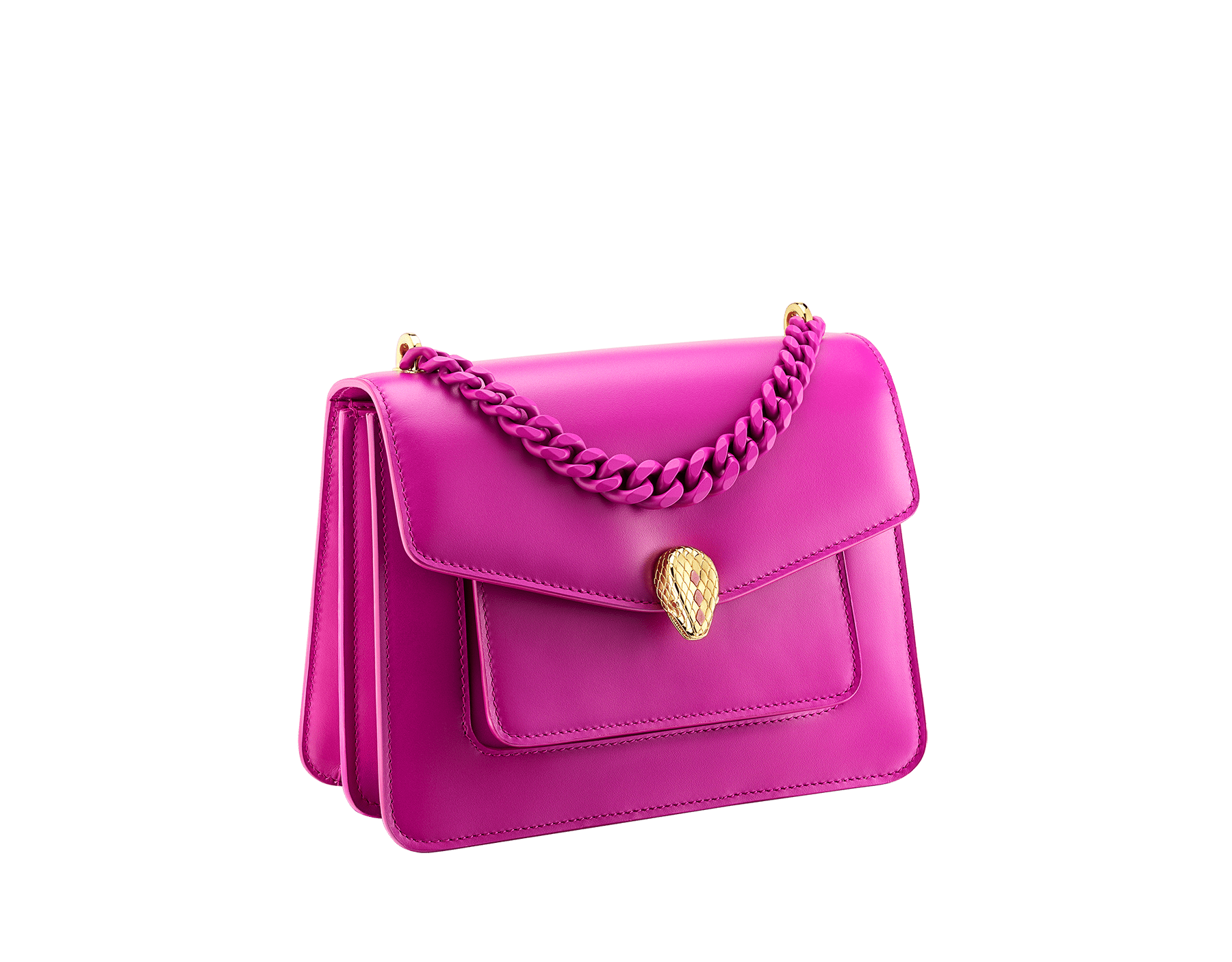 """Serpenti Forever"" small maxi chain crossbody bag in Magenta Spinel purple nappa leather, with Roman Garnet Bordeaux nappa leather inner lining. New Serpenti head closure in gold-plated brass, finished with small purple rhodonite scales in the middle and red enamel eyes. 1134-MCN image 2"