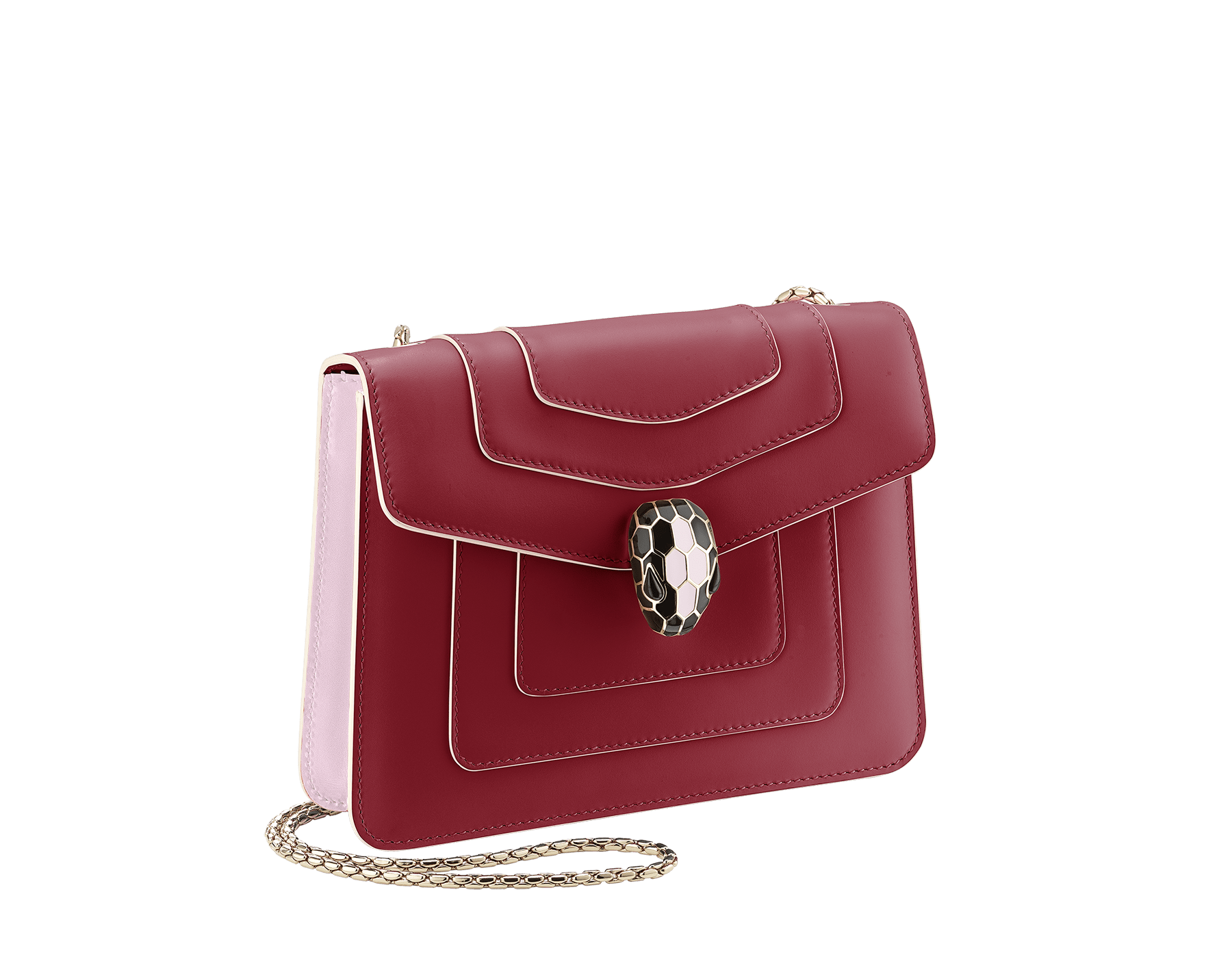 Serpenti Forever crossbody bag in Roman garnet calf leather, with rosa di francia calf leather sides. Iconic snakehead closure in light gold plated brass embellished with black and white enamel and green malachite eyes. 289035 image 5