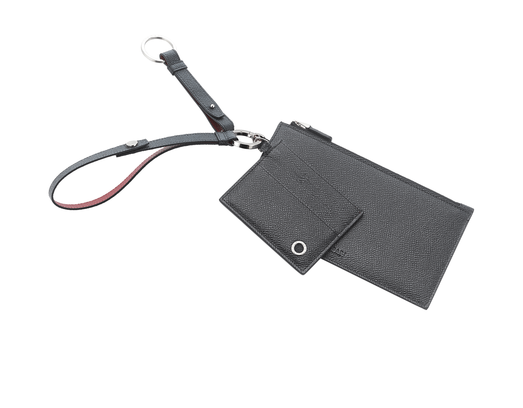 BVLGARI BVLGARI phone and credit card holder in black and ruby red calf leather. Brass palladium plated and black calf leather keyholder and black calf leather strap. 289388 image 1
