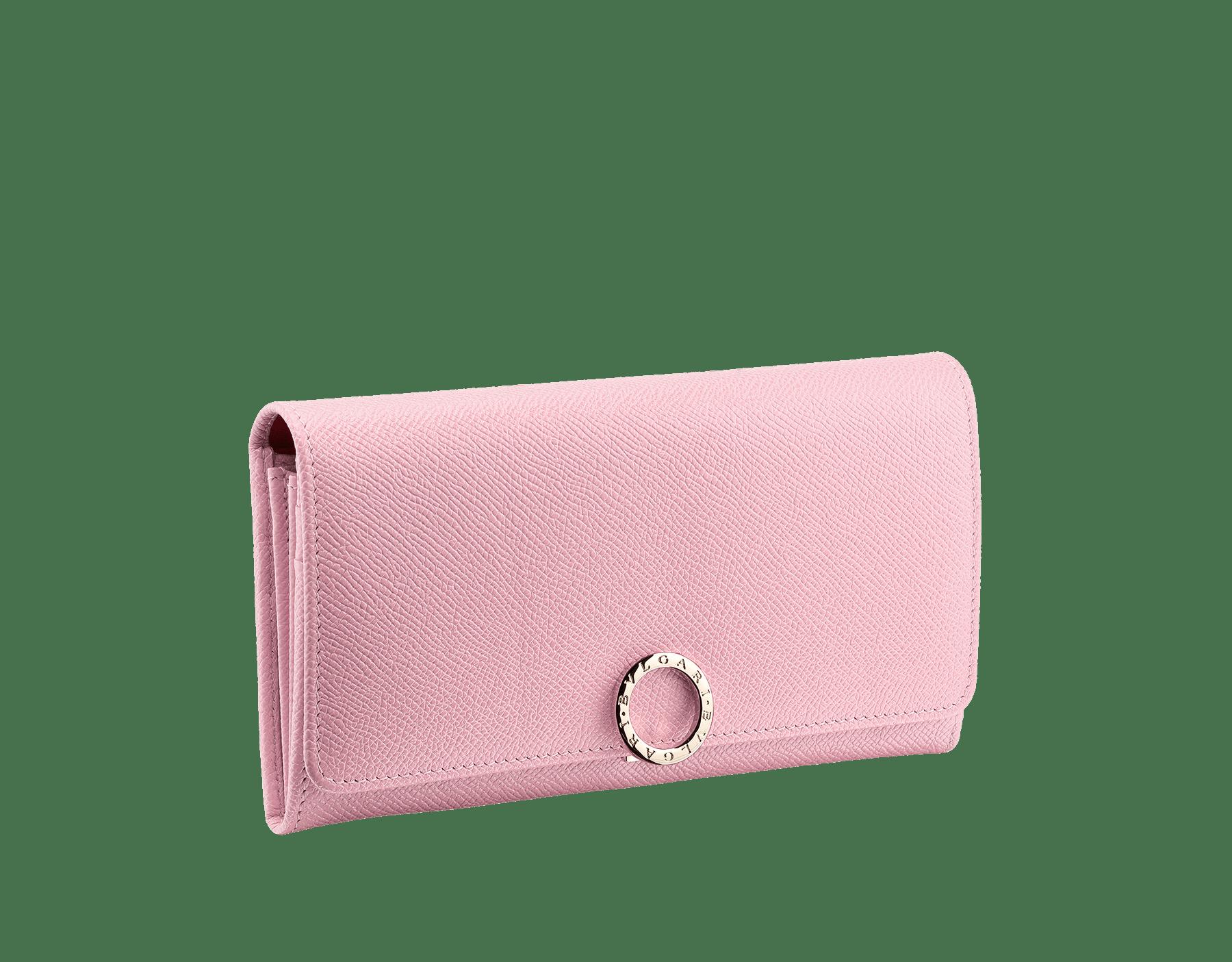 Wallet pochette in pink agate bright grain calf leather and jasper flame nappa. Brass light gold plated hardware and iconic Bulgari-Bulgari closure clip. 282869 image 1