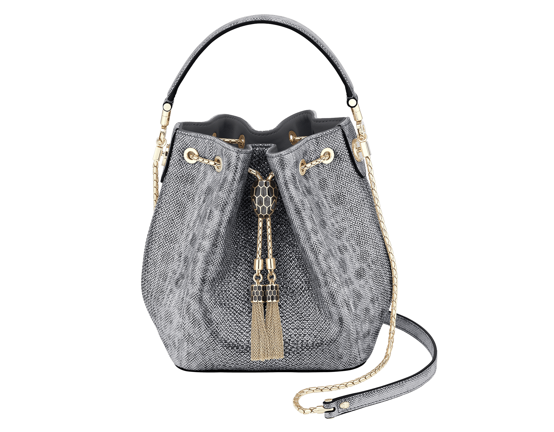 """""""Serpenti Forever"""" bucket in mint metallic karung skin and black nappa internal lining. Hardware in light gold plated brass and snakehead closure in black and white agate enamel, with eyes in black onyx. 934-MK image 1"""