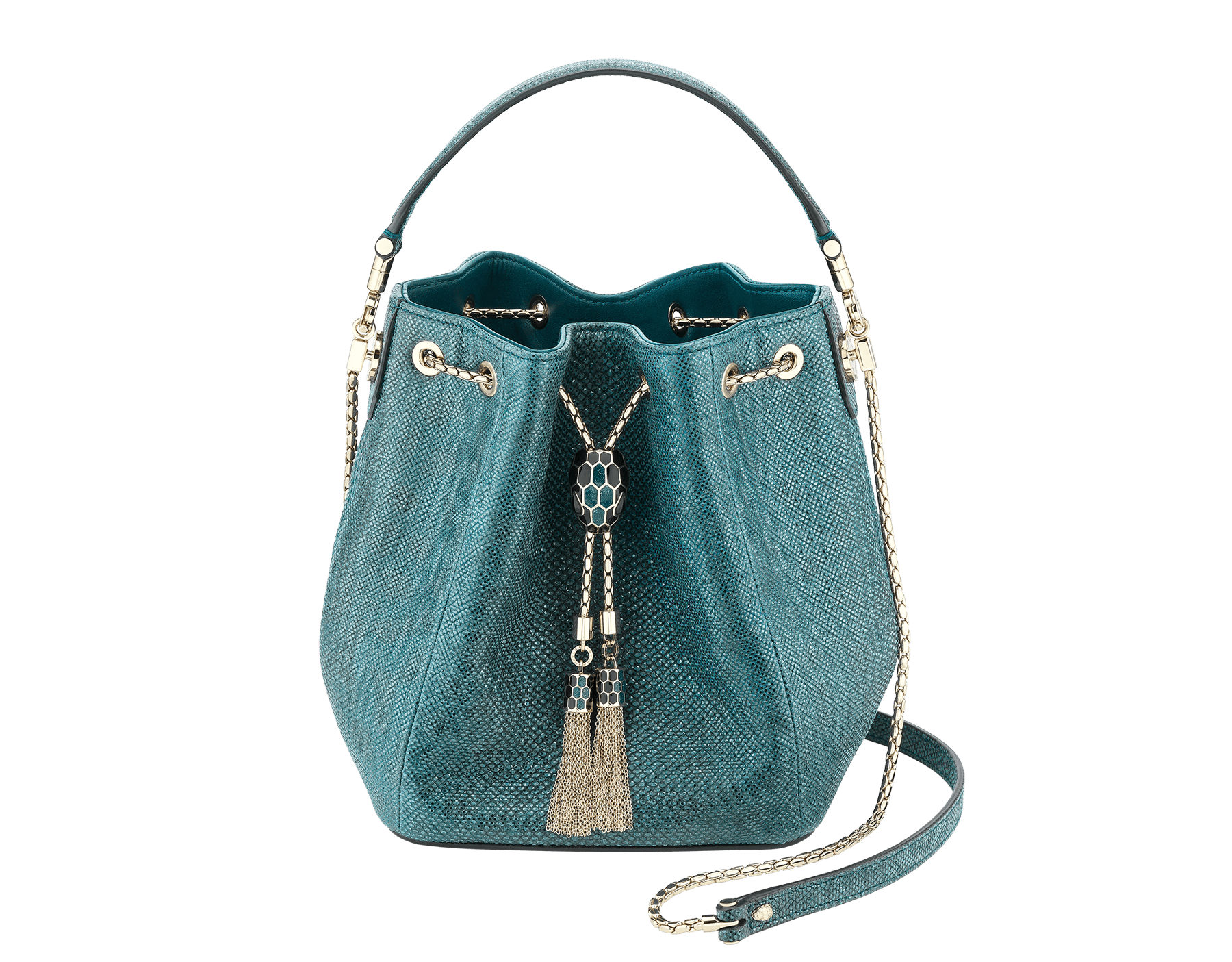 Bucket Serpenti Forever in deep jade metallic karung skin and deep jade nappa internal lining. Hardware in light gold plated brass and snakehead closure in black and glitter deep jade enamel, with eyes in black onyx. 287950 image 1